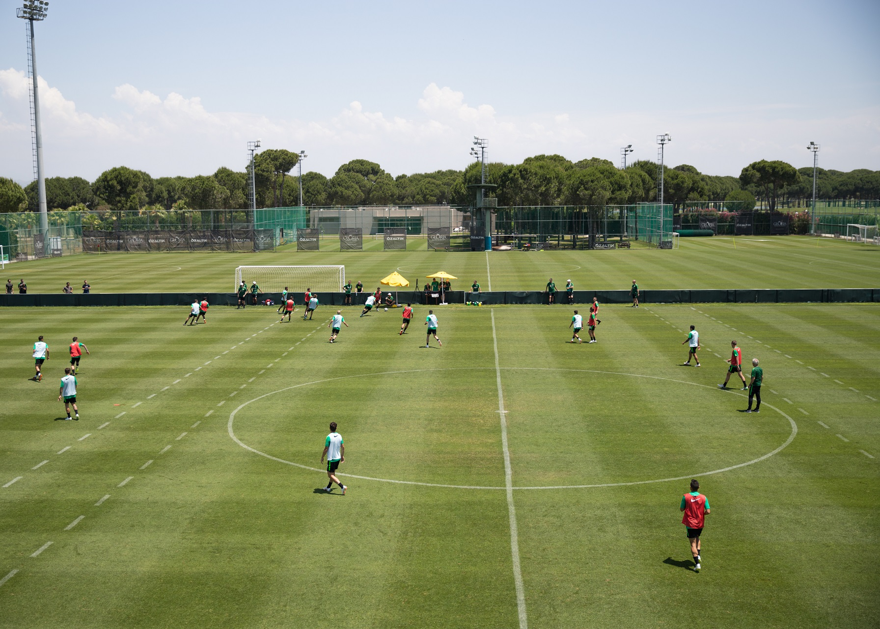 An aerial shot of Caltex Socceroos training