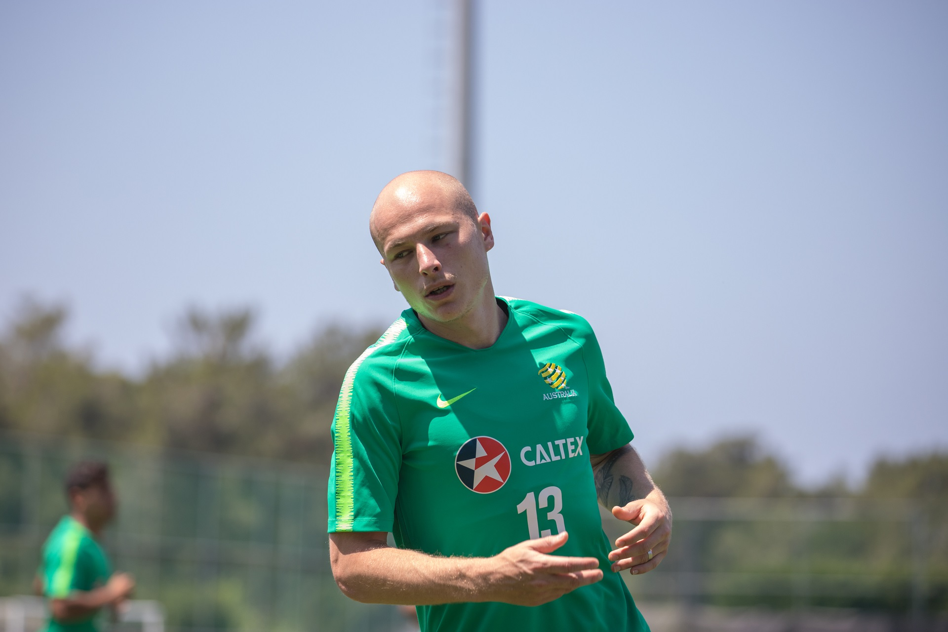 Aaron Mooy as the team goes through the warm up