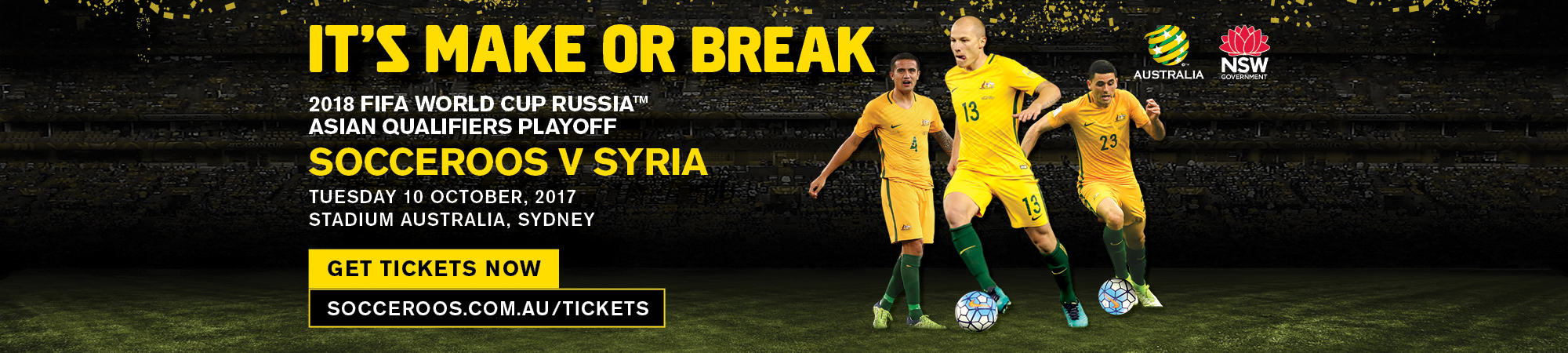 Its make or break. Socceroos V Syria. Get tickets now