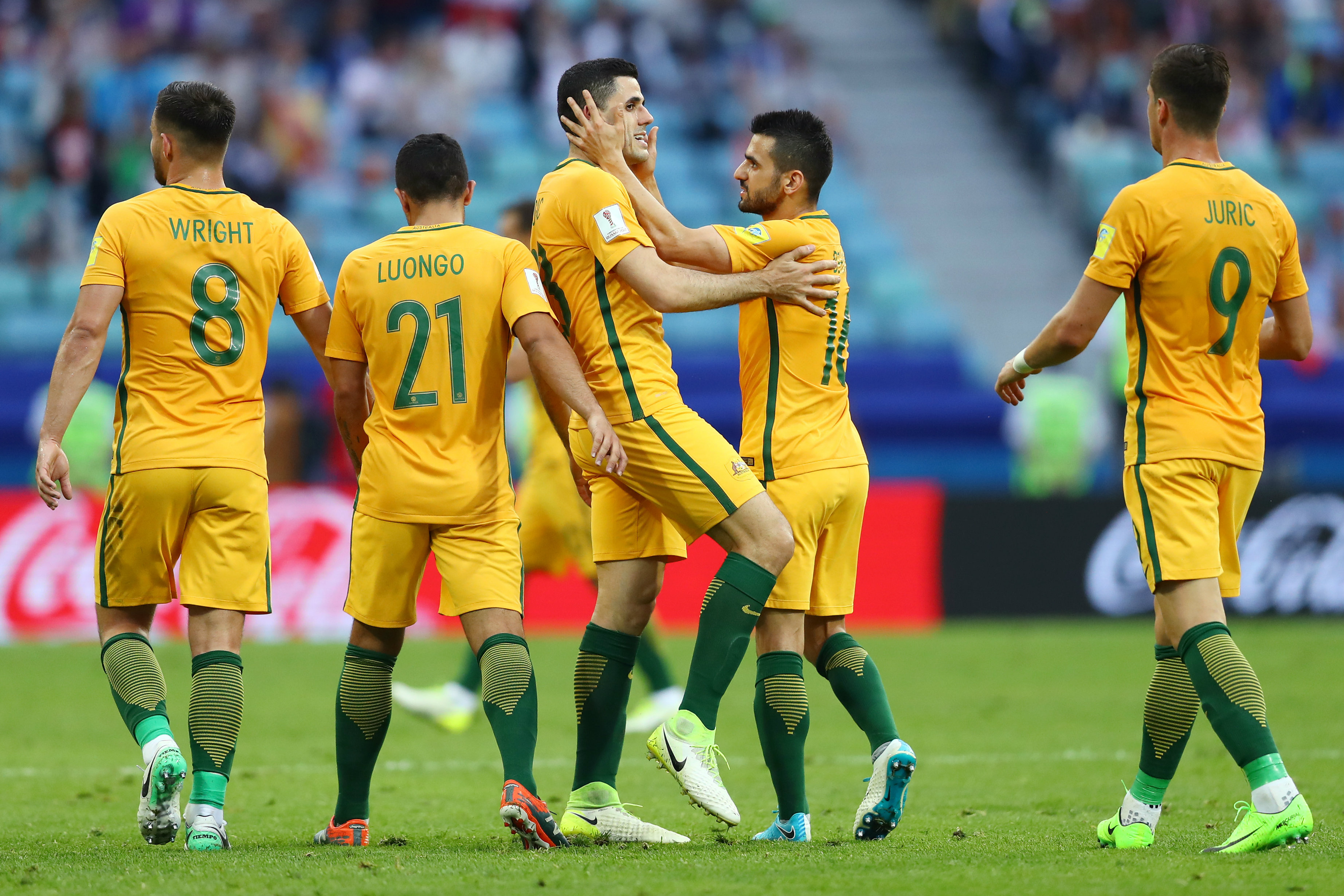 The Caltex Socceroos celebrate scoring a goal during the FIFA Confederations Cup.
