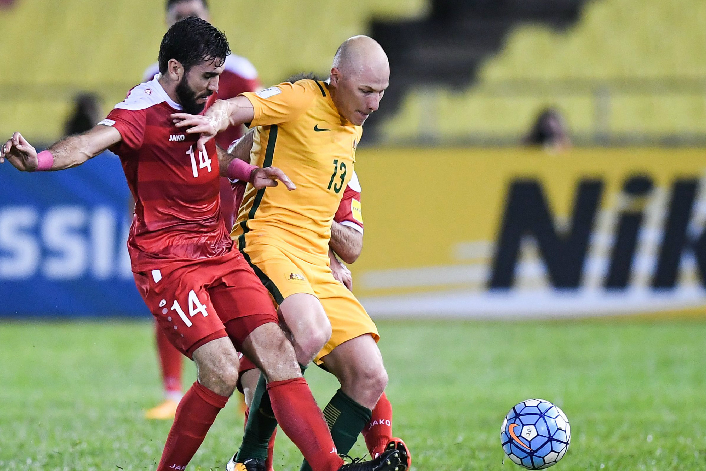 Aaron Mooy on the ball against Syria.