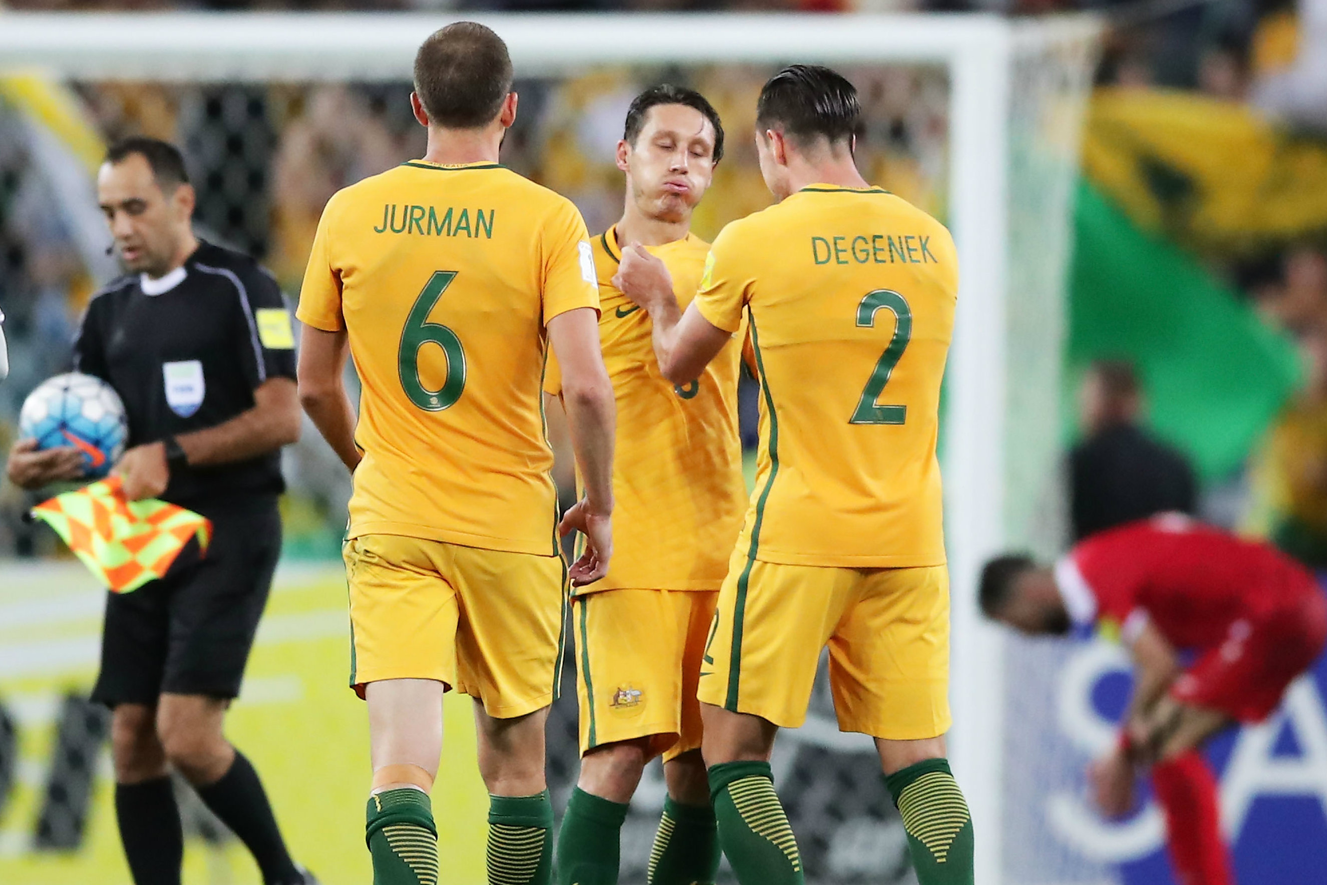 Caltex Socceroos midfielder Mark Milligan expresses his relief after overcoming Syria in Sydney.