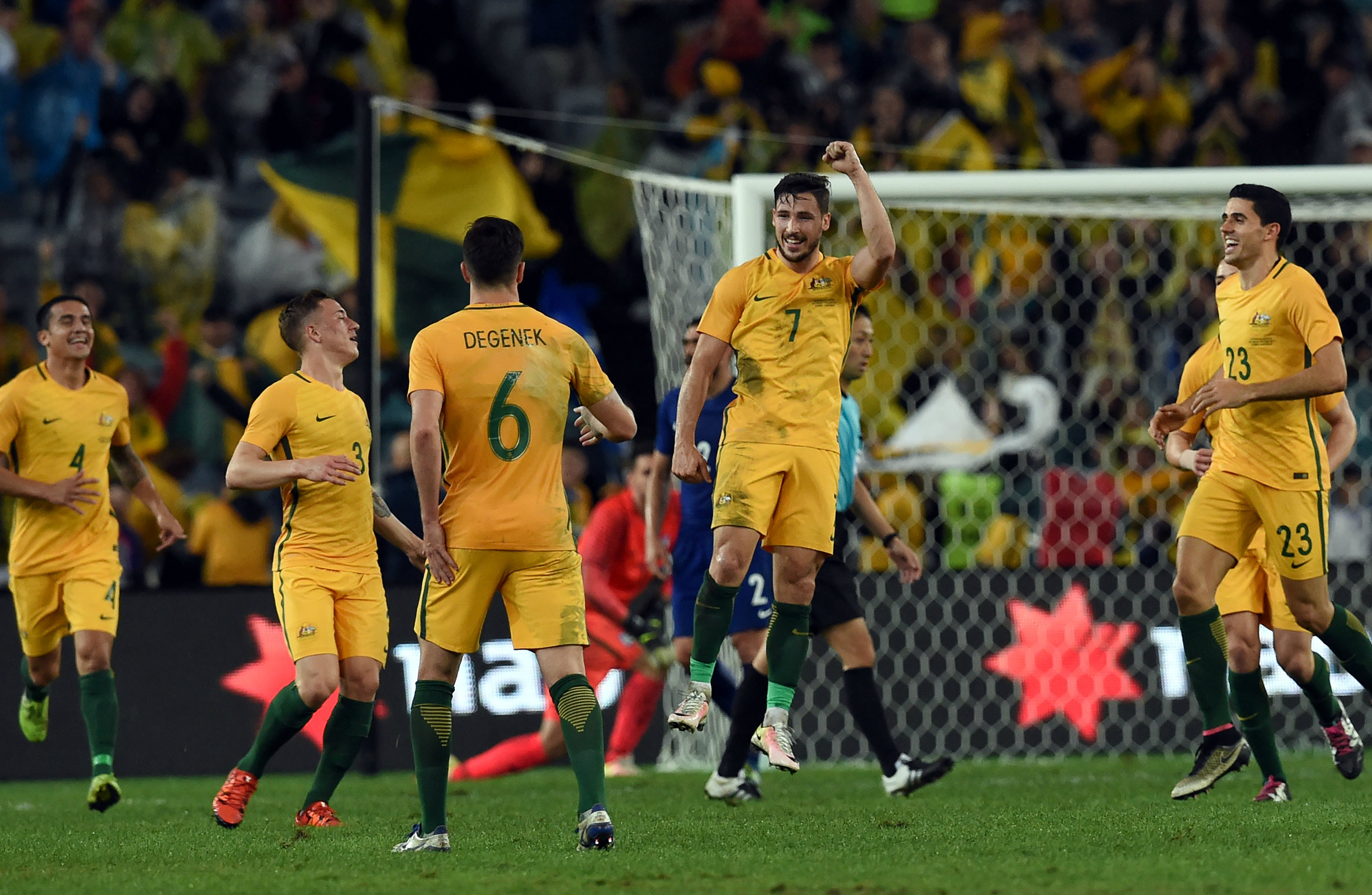 Mat Leckie celebrates his winner against Greece in 2016.