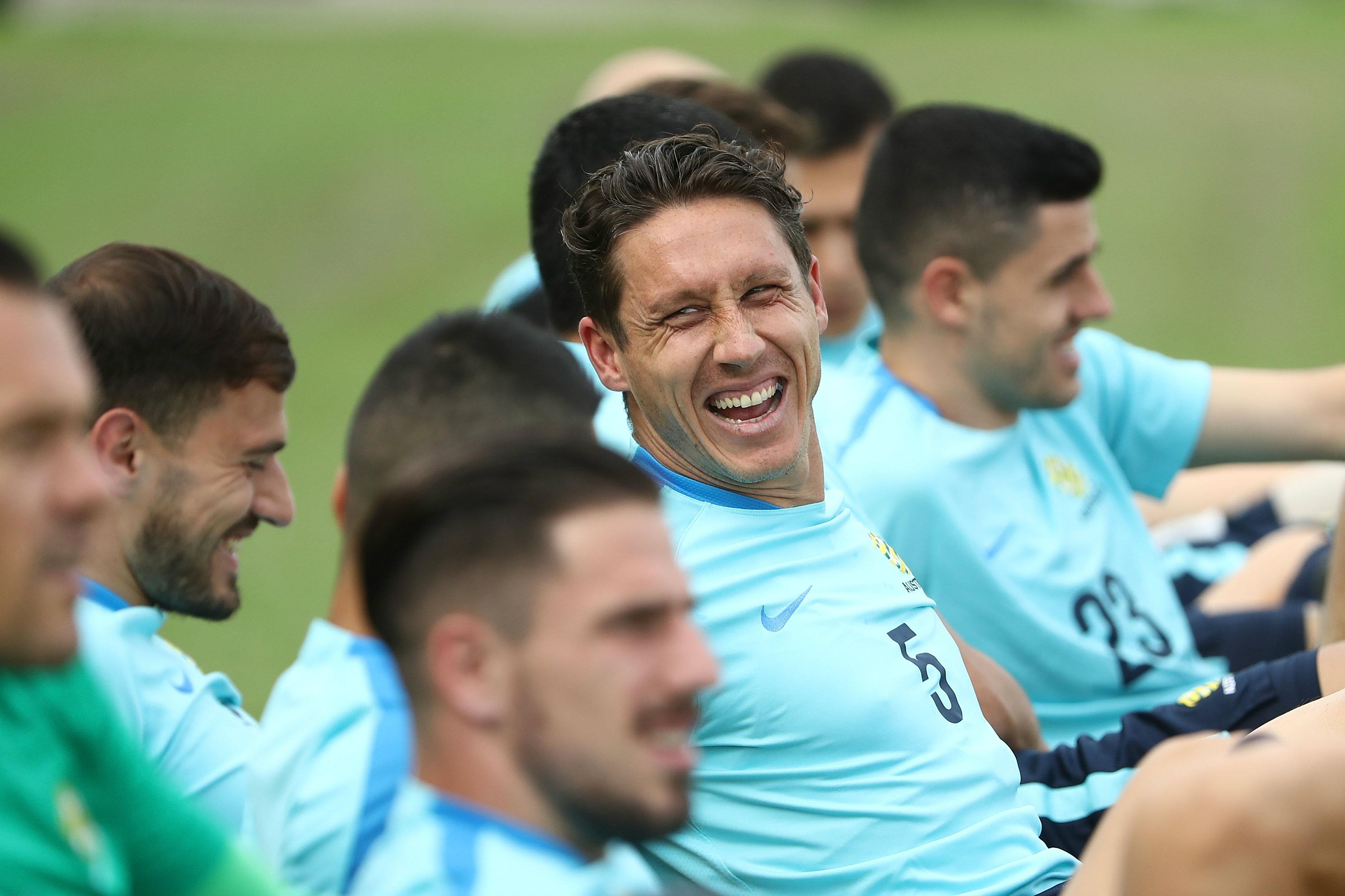 Mark Milligan all smiles during Caltex Socceroos training in Melaka.