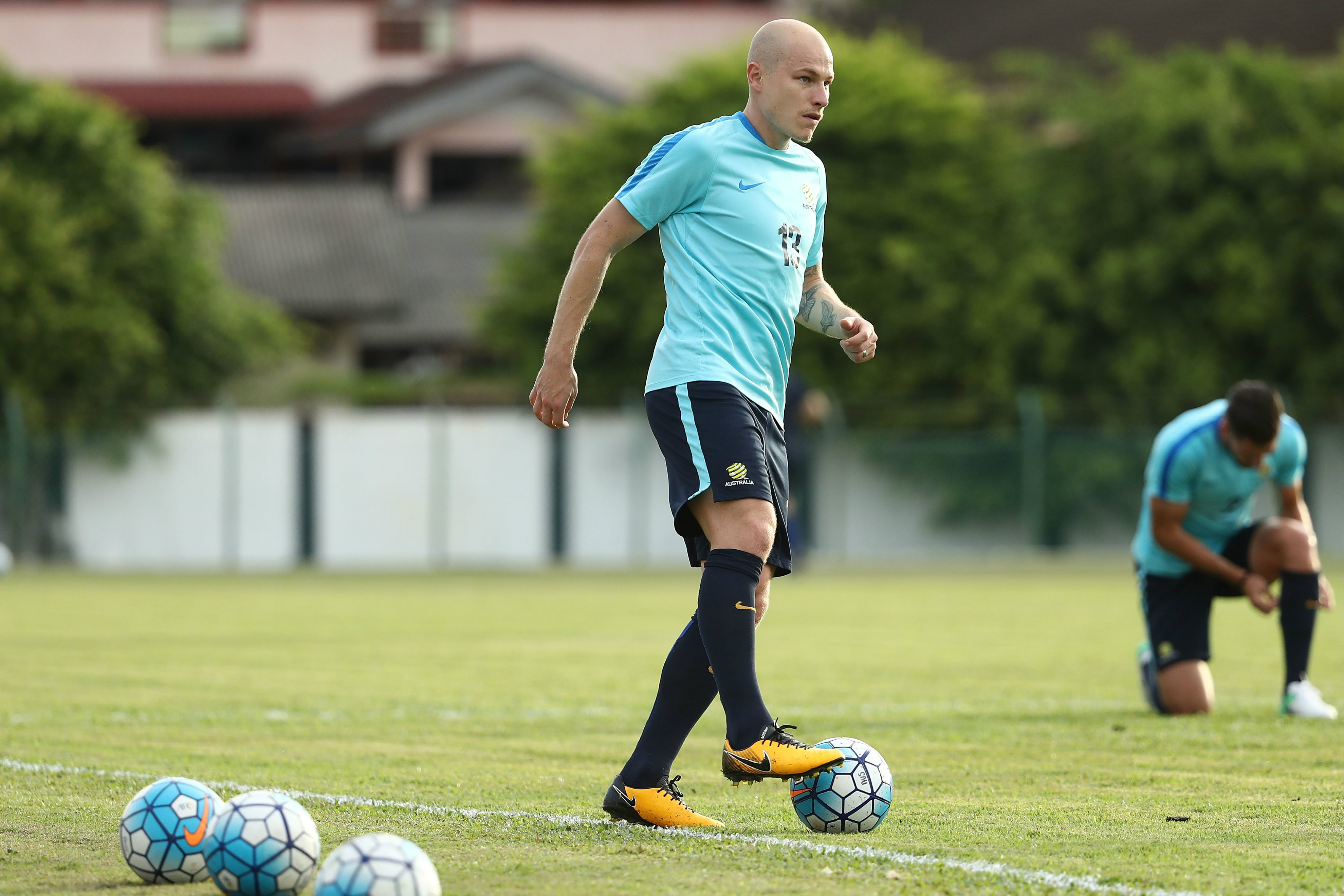 Aaron Mooy in training with the Caltex Socceroos in Melaka.