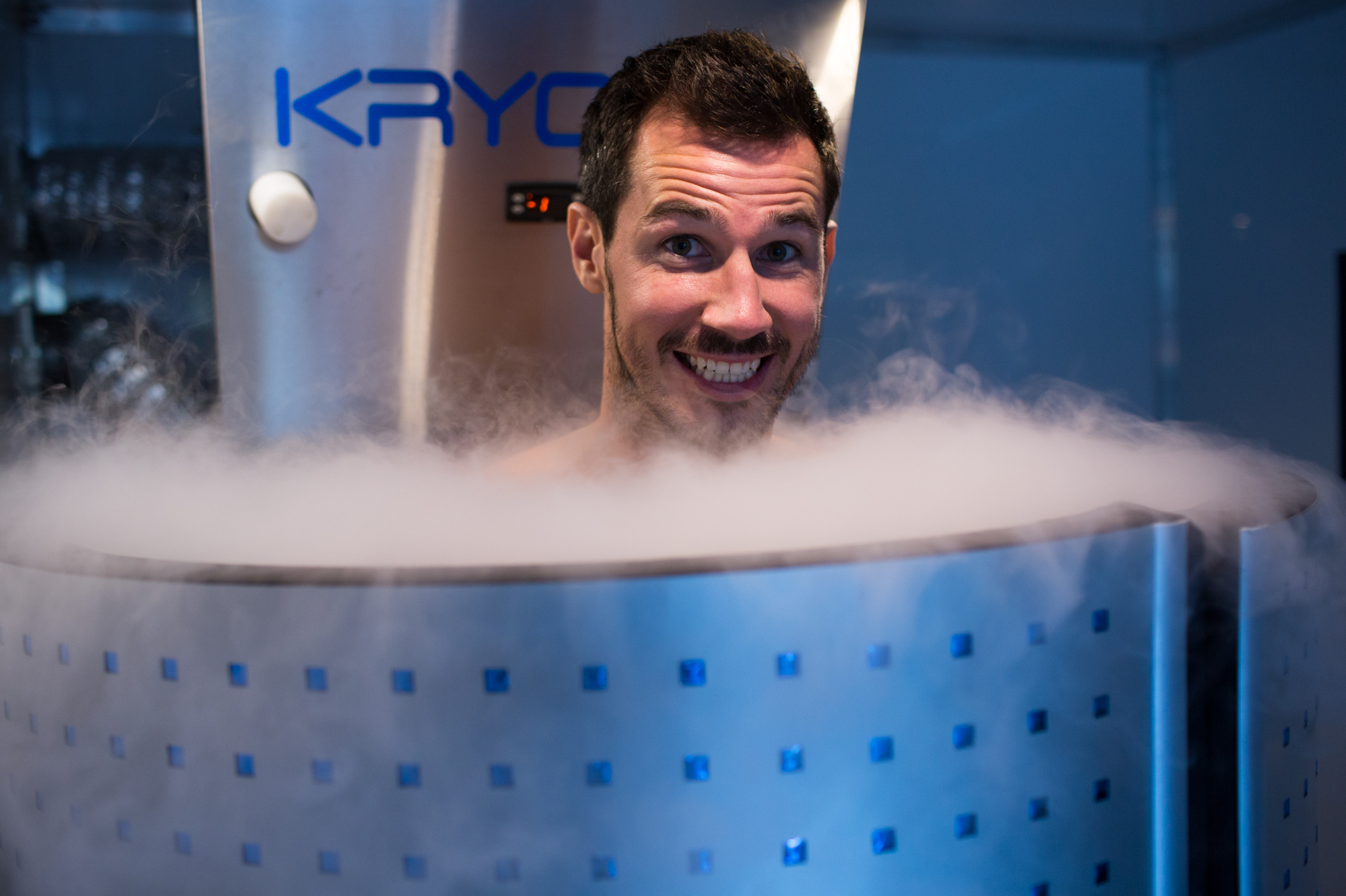 Ryan McGowan loving the cryotherapy chamber.