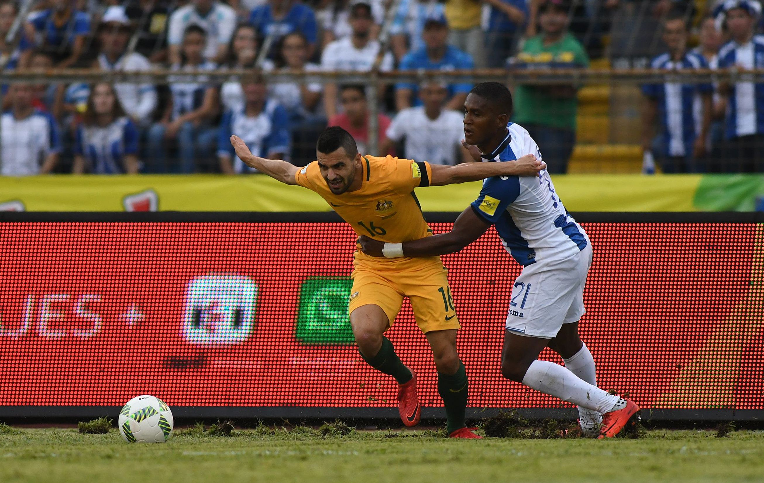 Aziz Behich proved a handful for the Honduran defence.