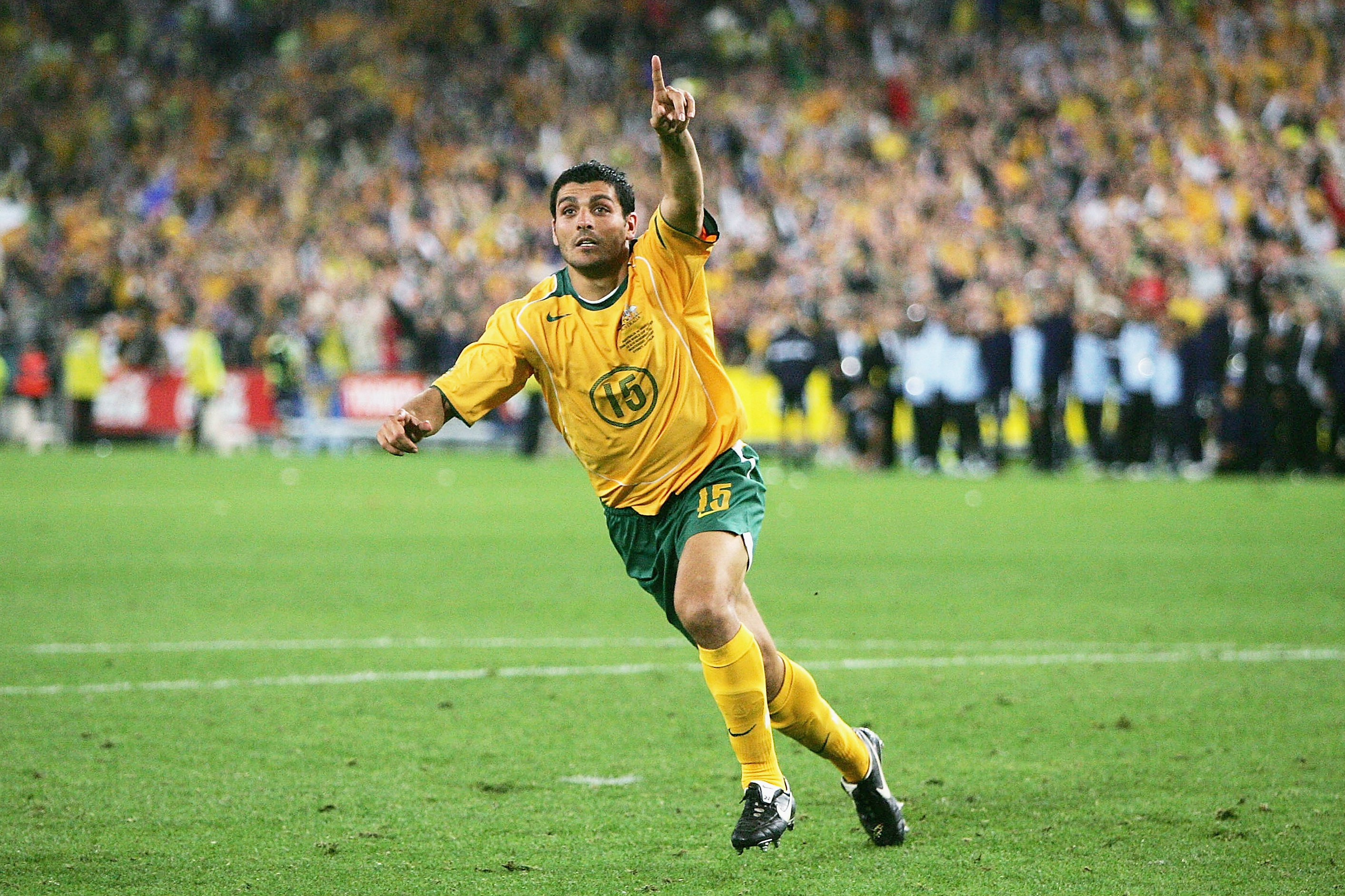 John Aloisi celebrates after scoring the penalty that sent Australia to the 2006 World Cup.
