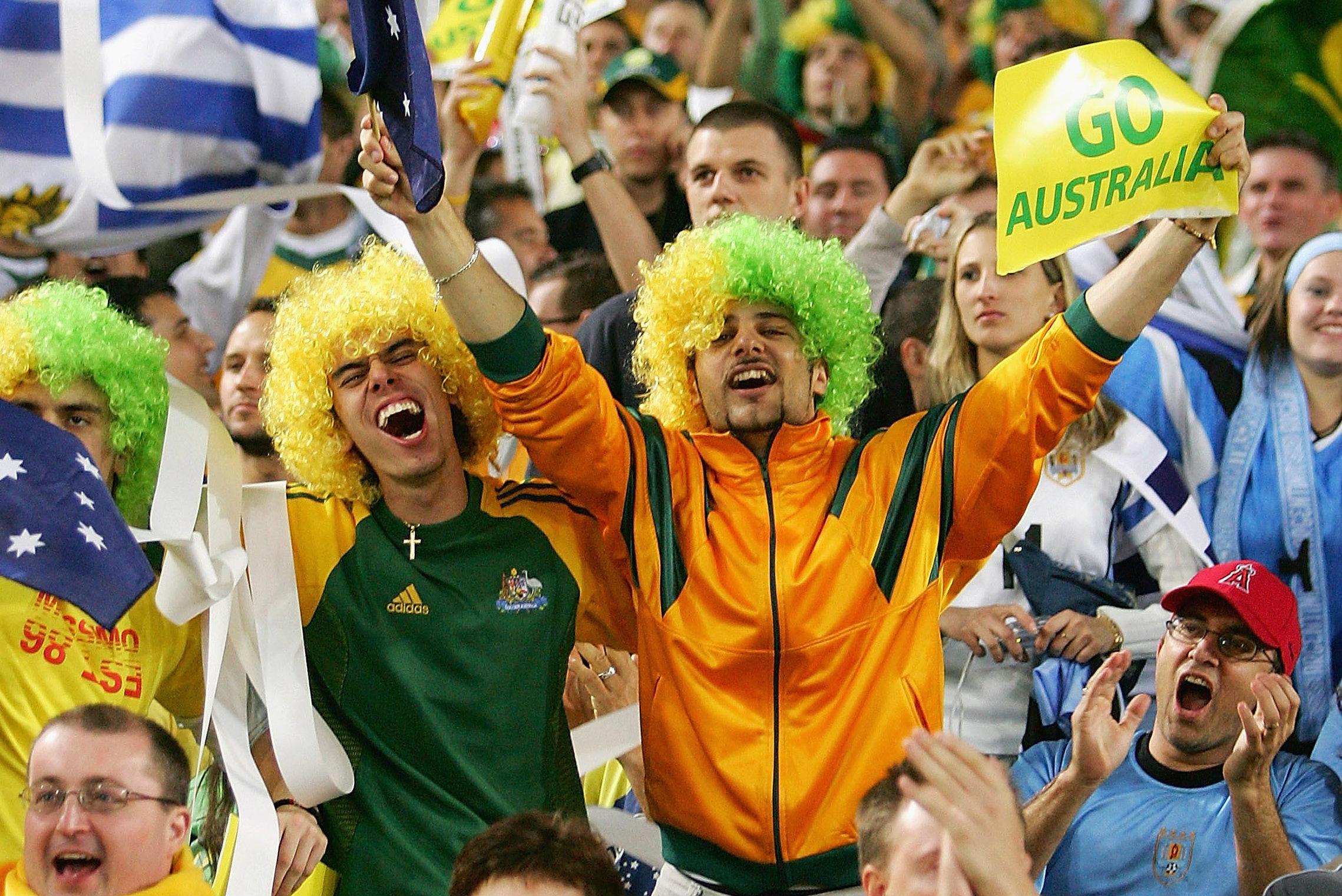 Socceroos fans at the 2005 World Cup qualifier against Uruguay.