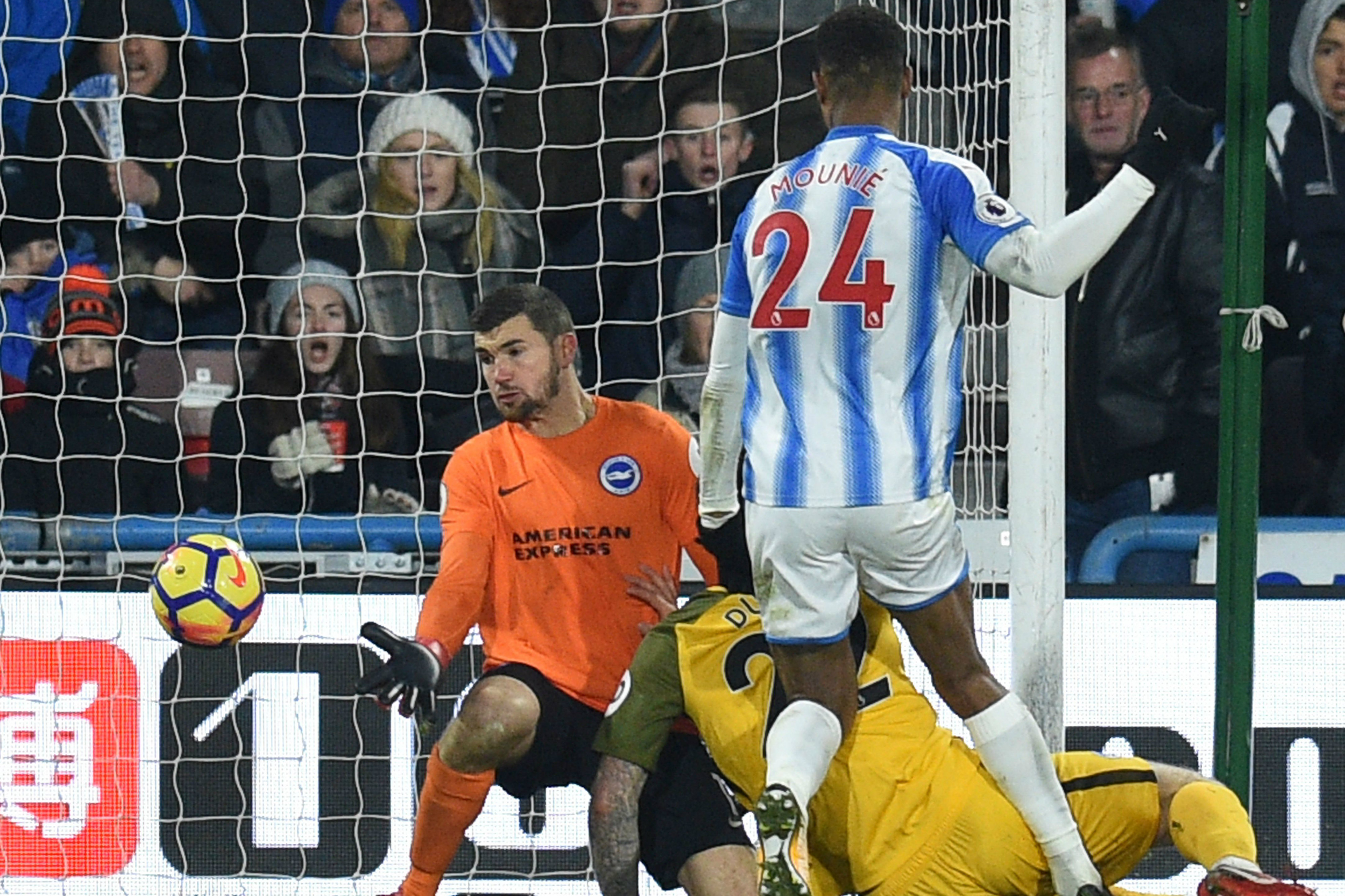 Mat Ryan could do nothing to prevent Brighton from falling to defeat against Huddersfield.