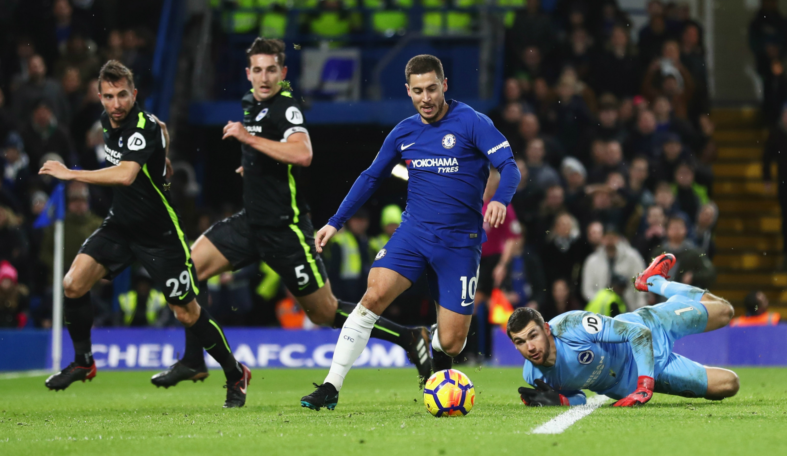 Eden Hazard and Mat Ryan