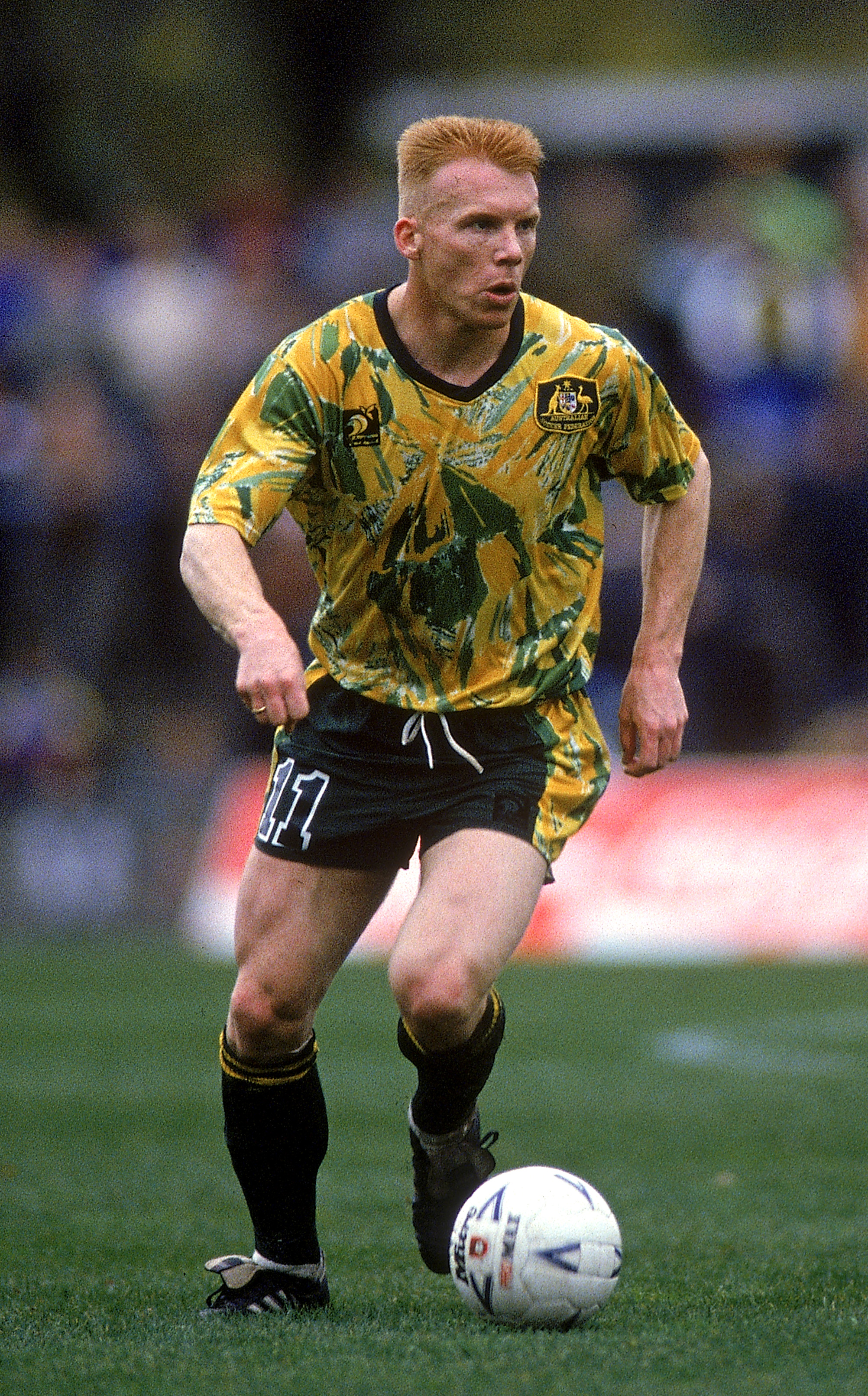Robbie Slater in action for the Socceroos in 1993.