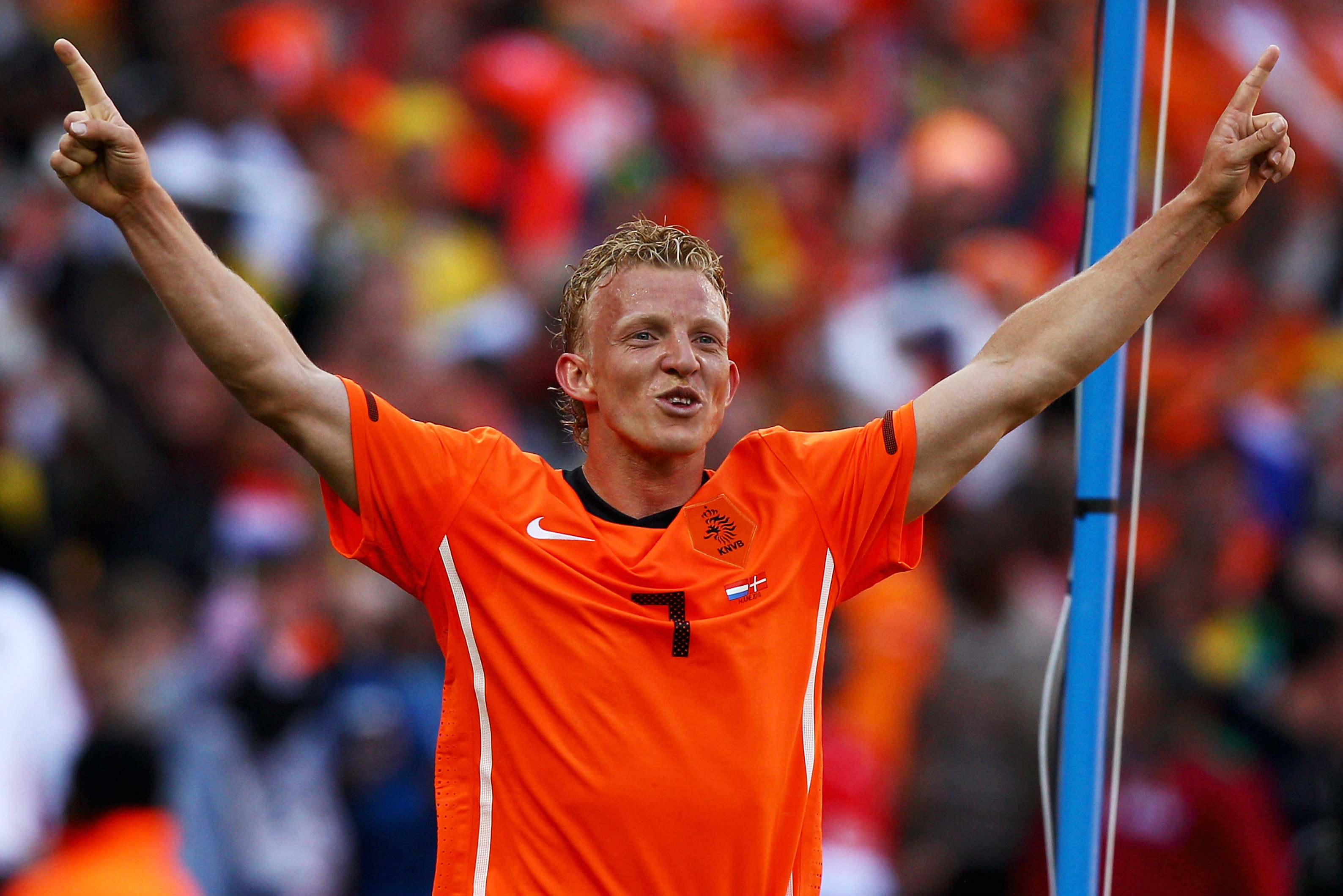 Dirk Kuyt celebrates sealing the Netherlands' win over Denmark.
