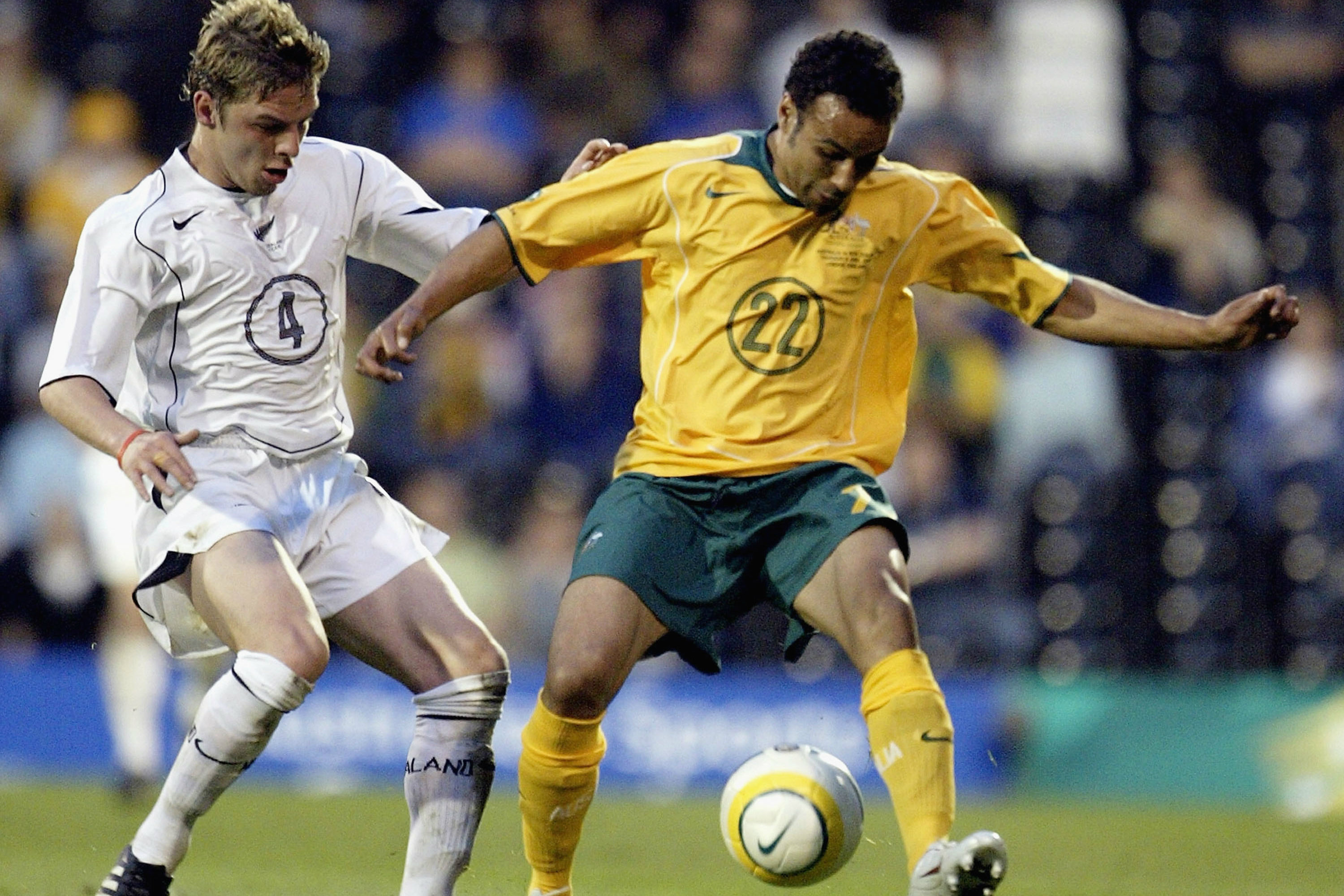 Archie Thompson on the ball against New Zealand.