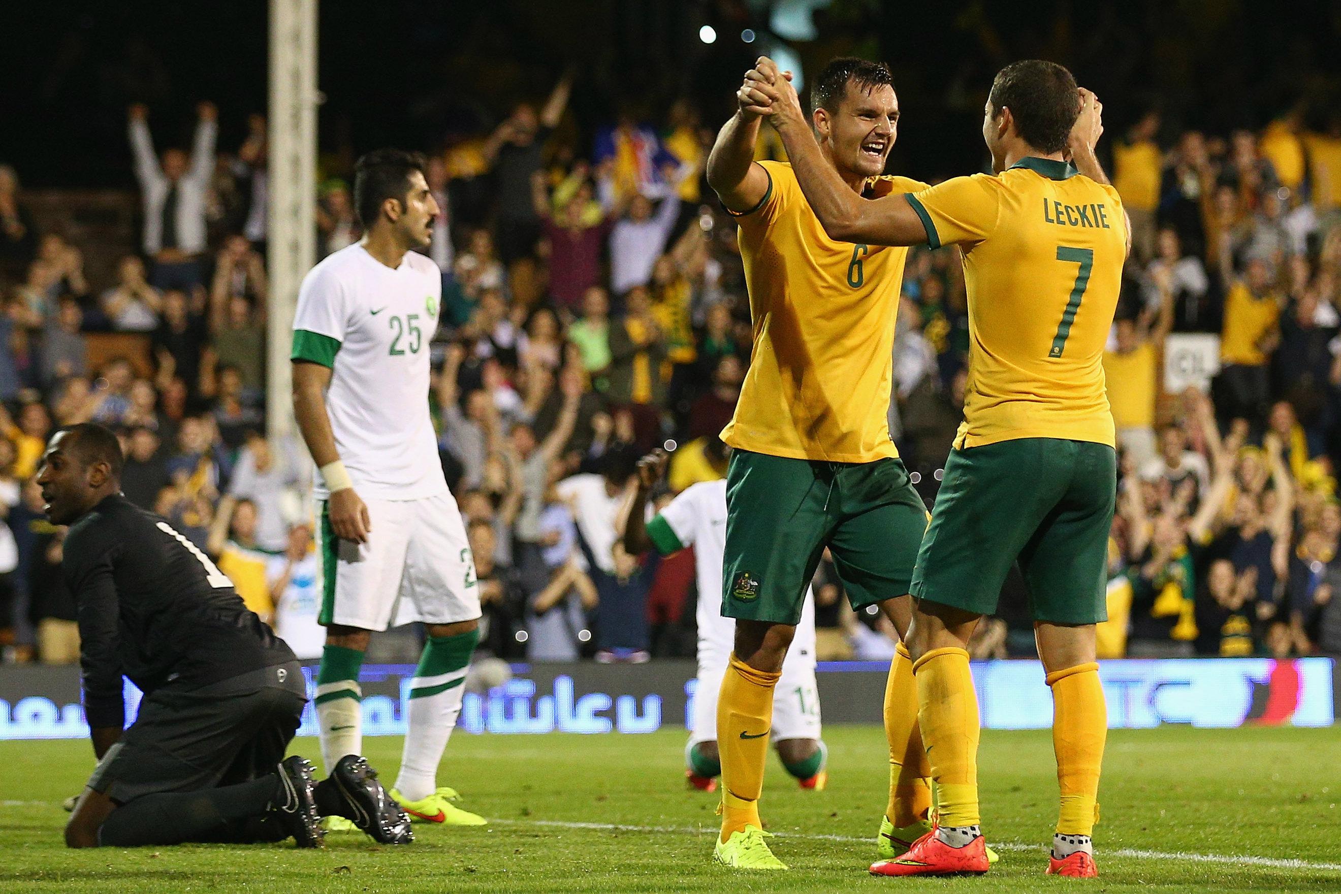 Bailey Wright celebrates his goal on debut against Saudi Arabia.