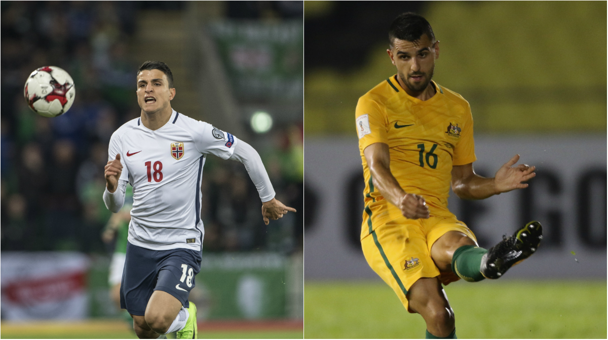 Mohamed Elyounoussi of Norway and Caltex Socceroos defender Aziz Behich.