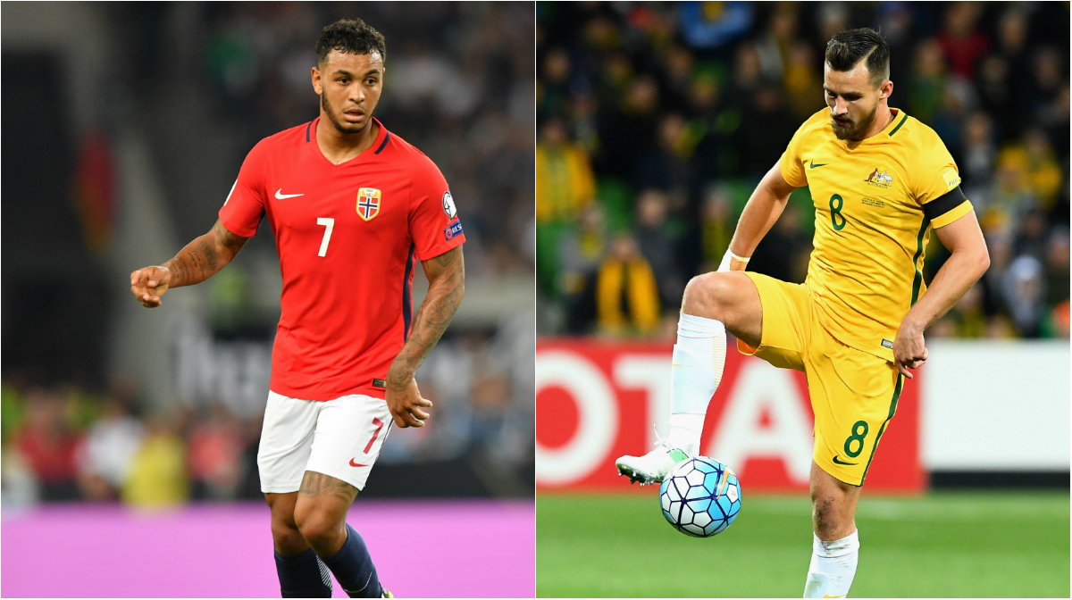 Joshua King of Norway and Caltex Socceroos' Bailey Wright.