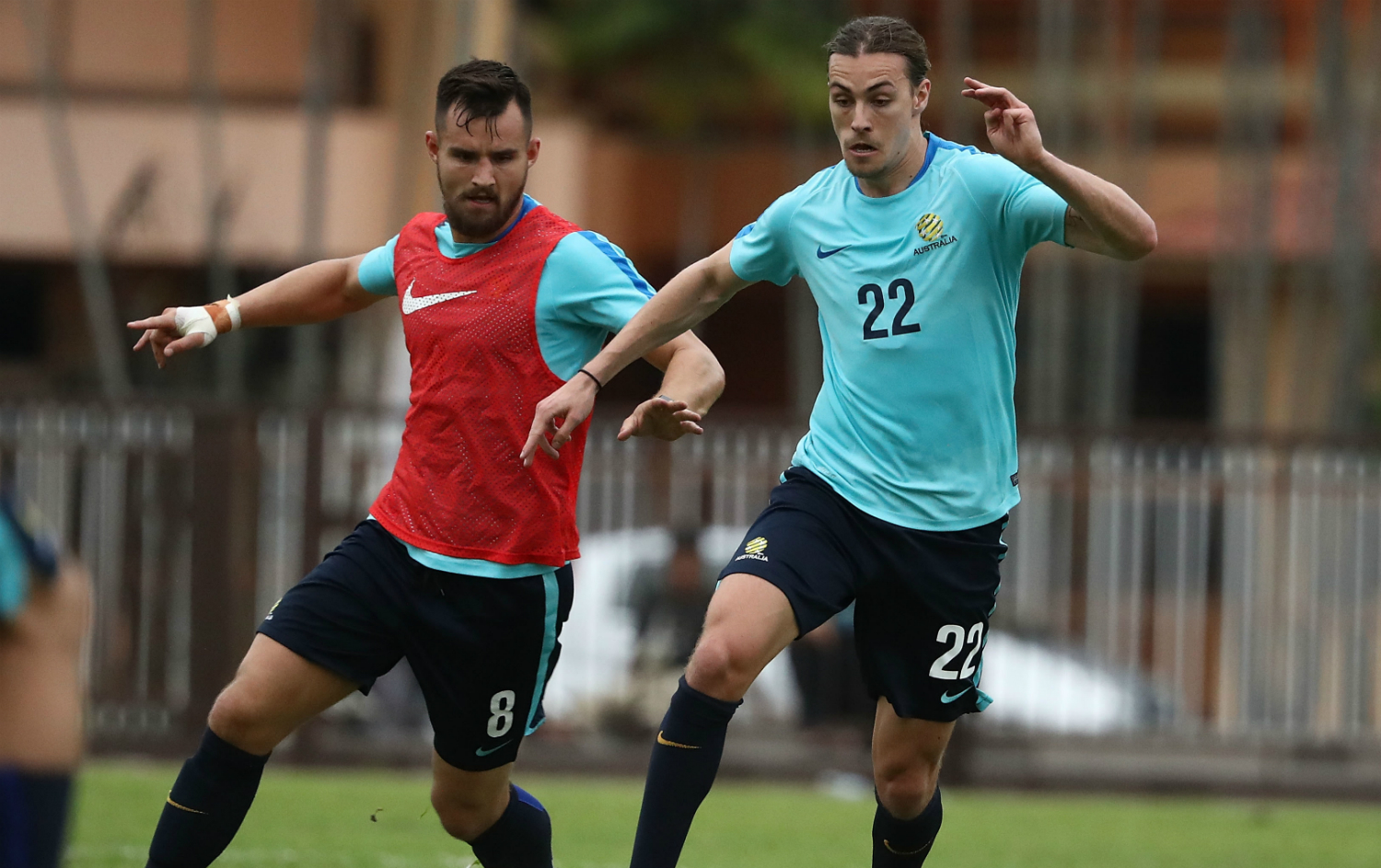 Bailey Wright and Jackson Irvine
