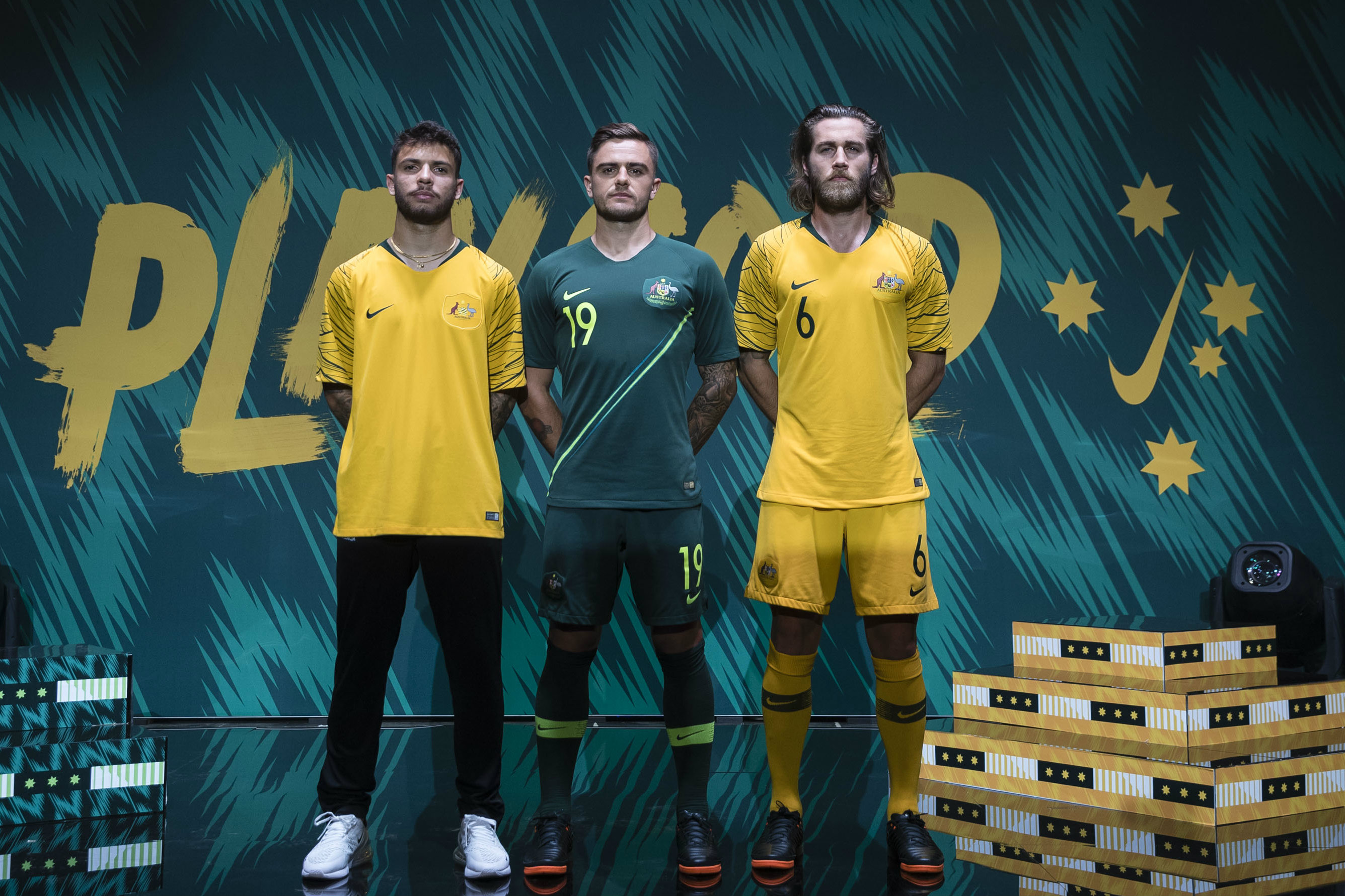 Daniel De Silva, Josh Risdon and Josh Brillante model the new playing kit.