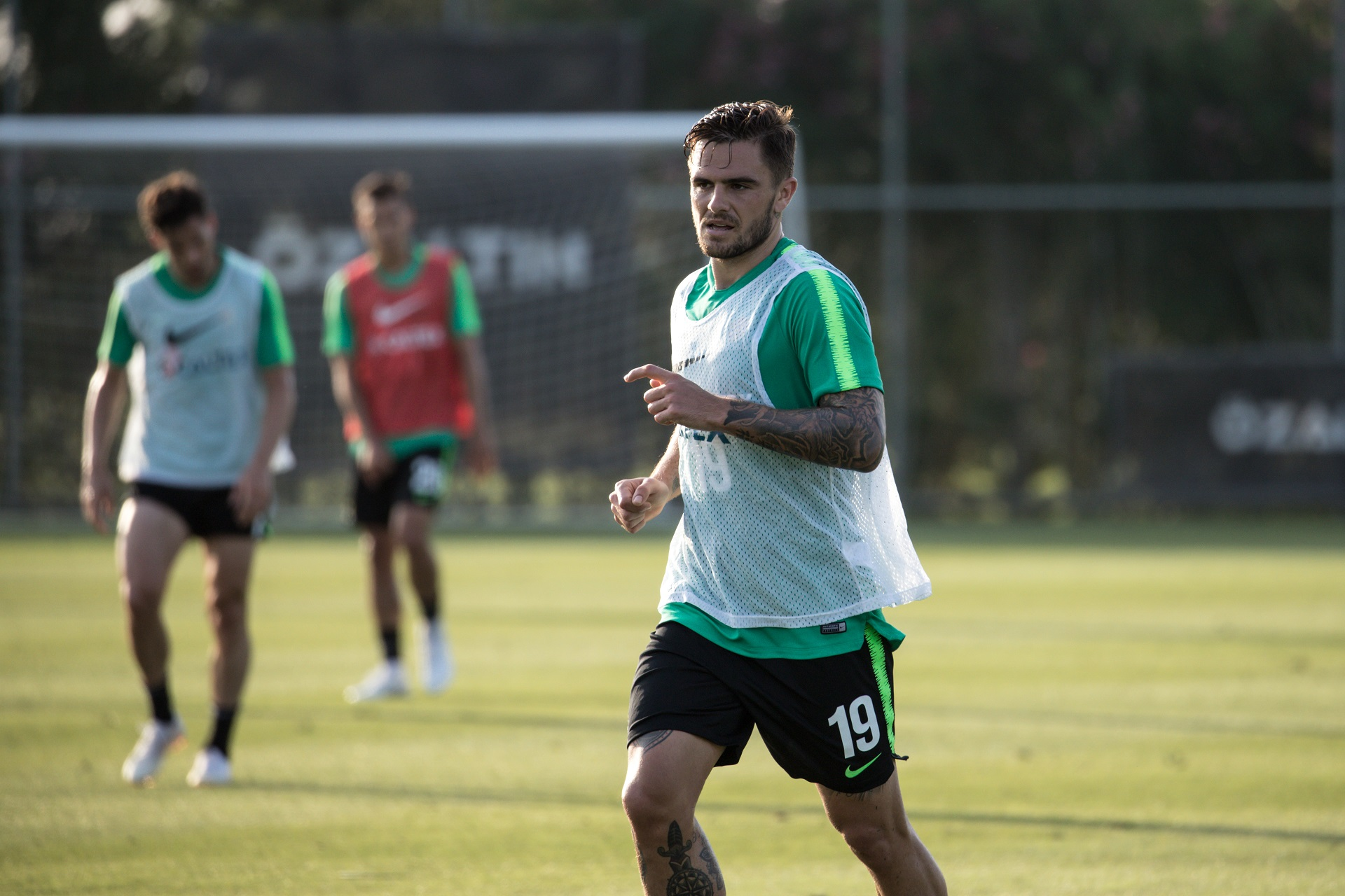Josh Risdon in Socceroos training