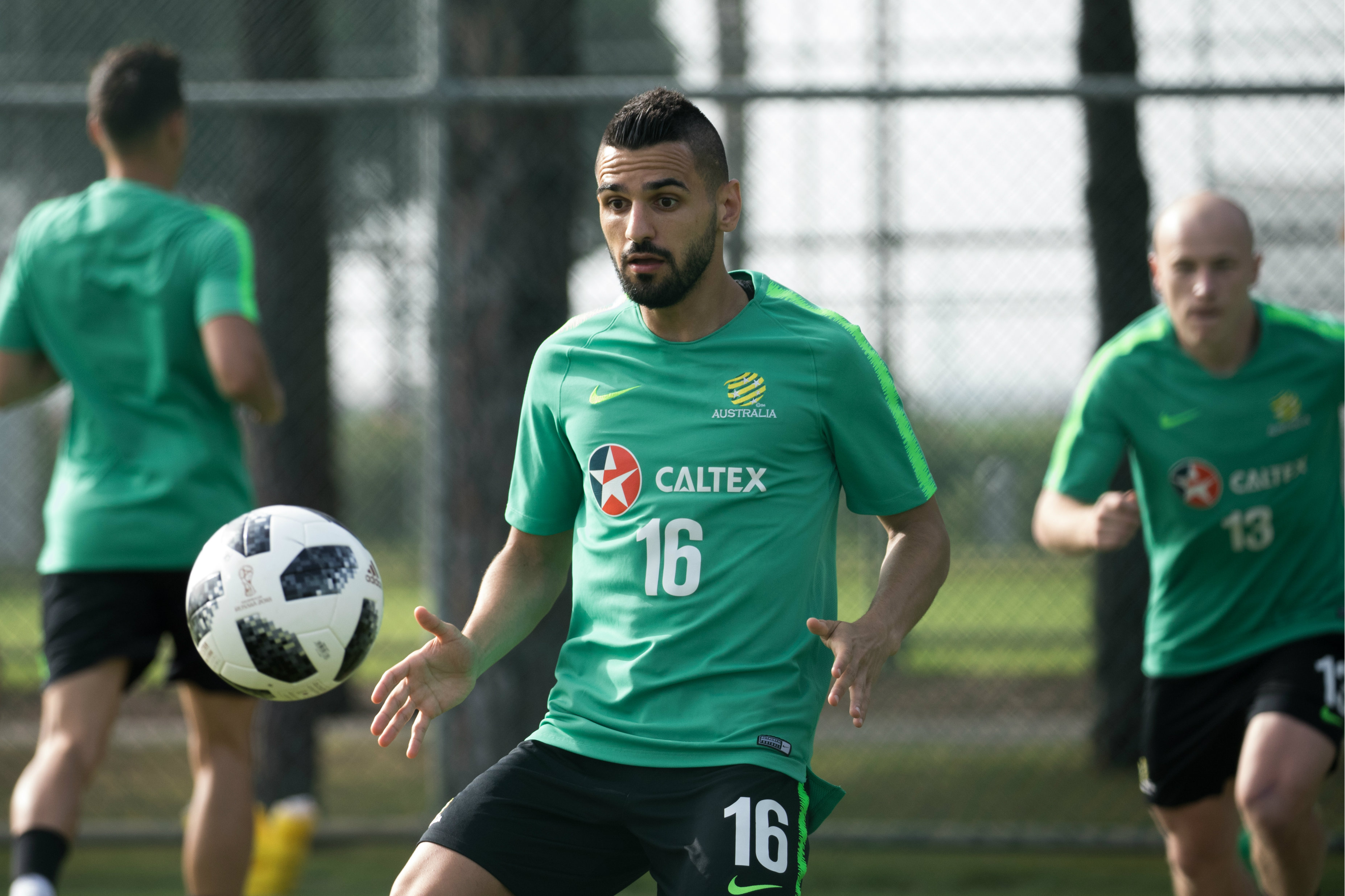 Aziz Behich during a ball drill.