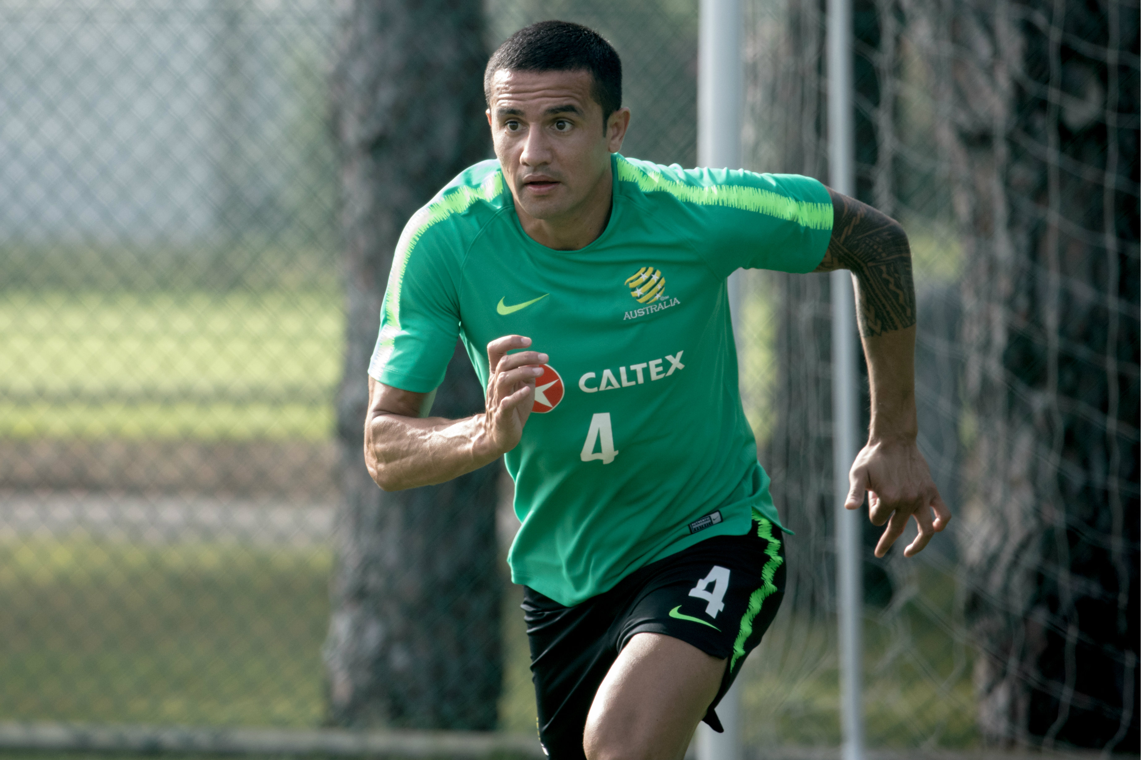 Tim Cahill strides out.