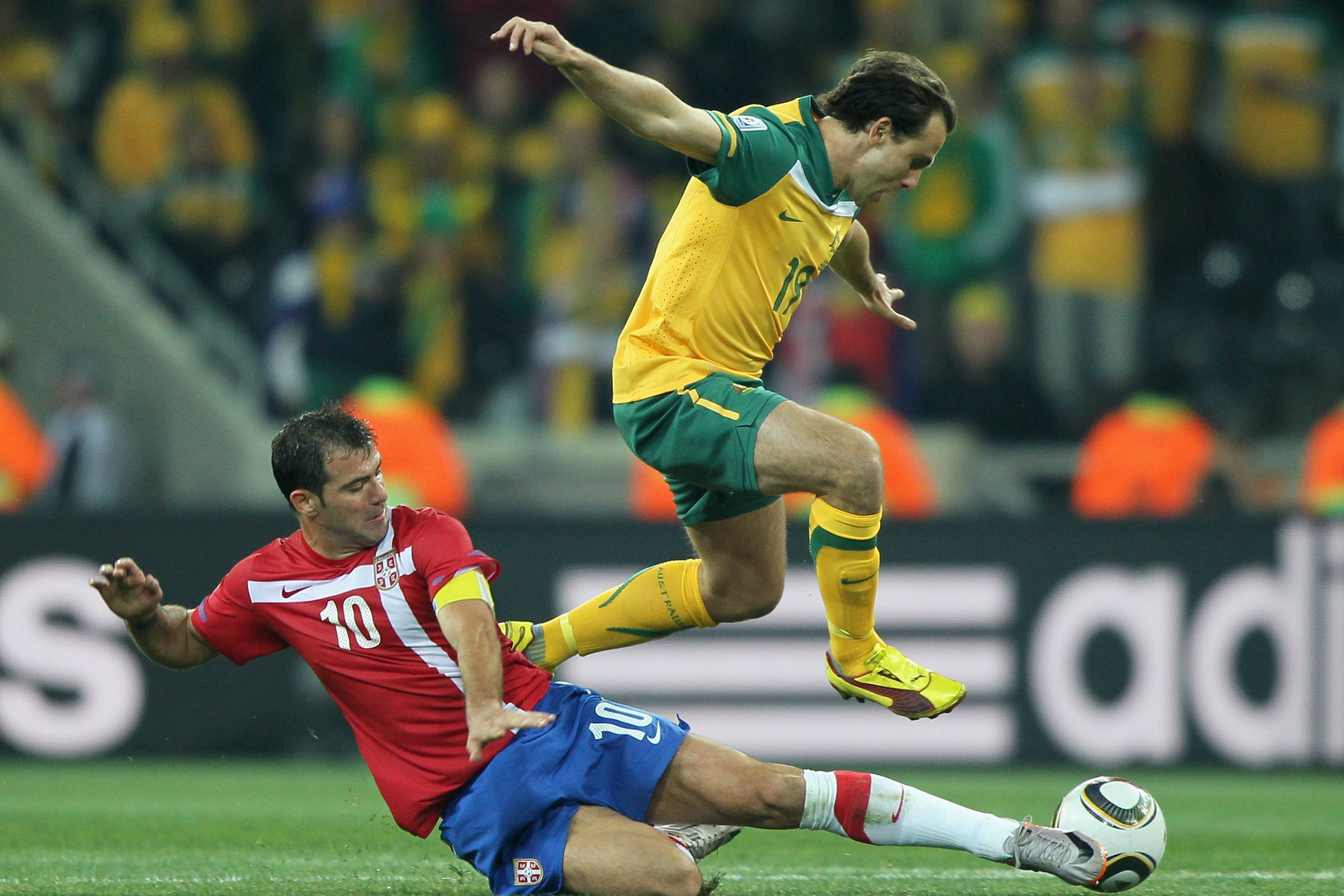 Richard Garcia evades the challenge of a Serbian player at the 2010 World Cup.