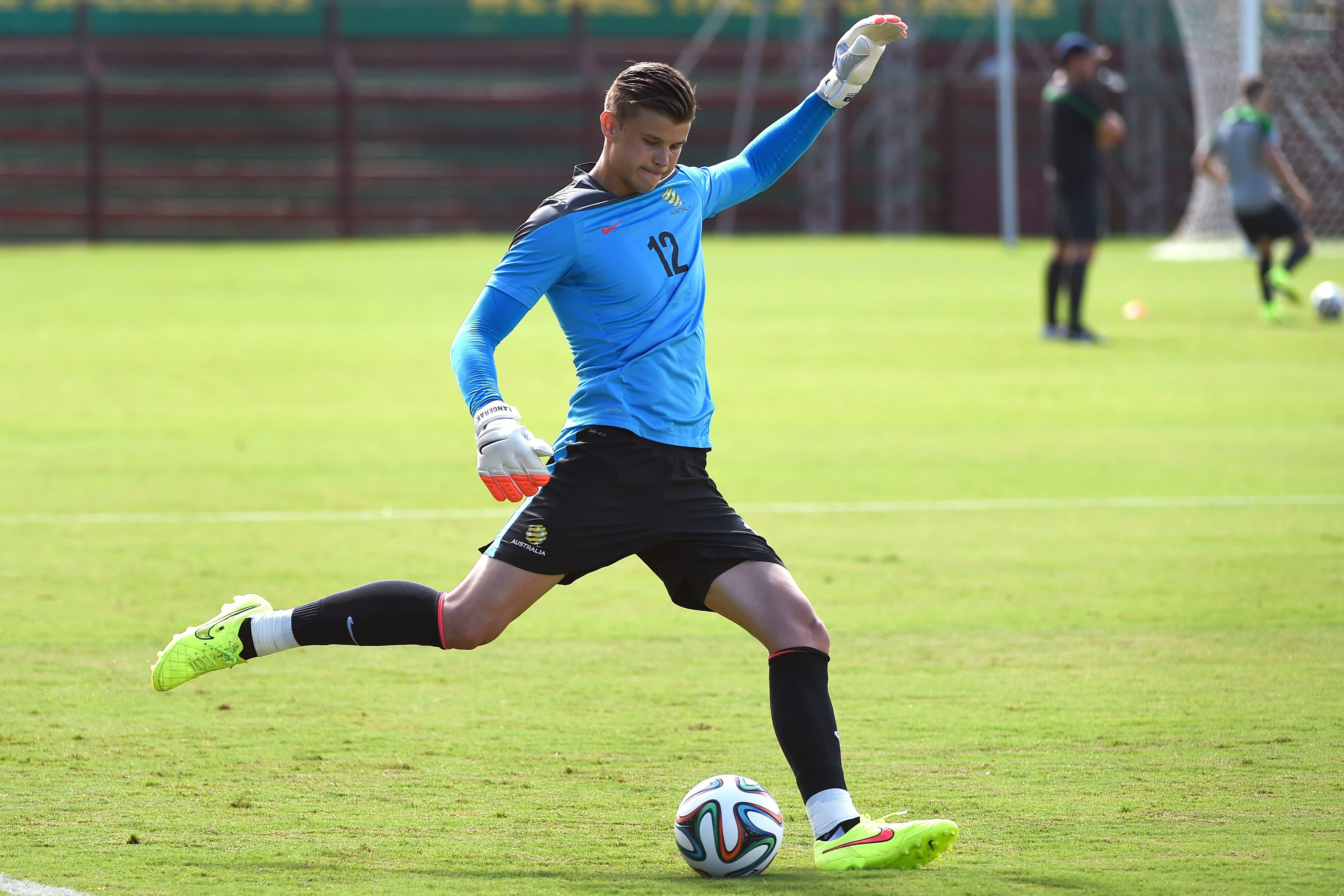 Mitch Langerak on the training pitch in Brazil.