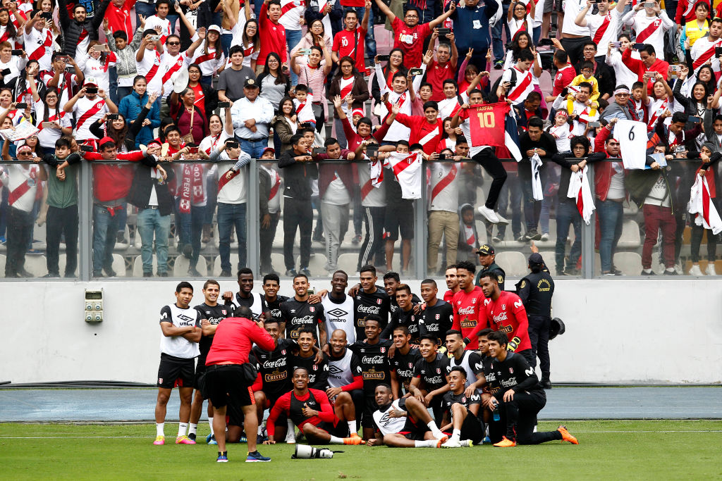 Peru during an open training session before the FIFA World Cup
