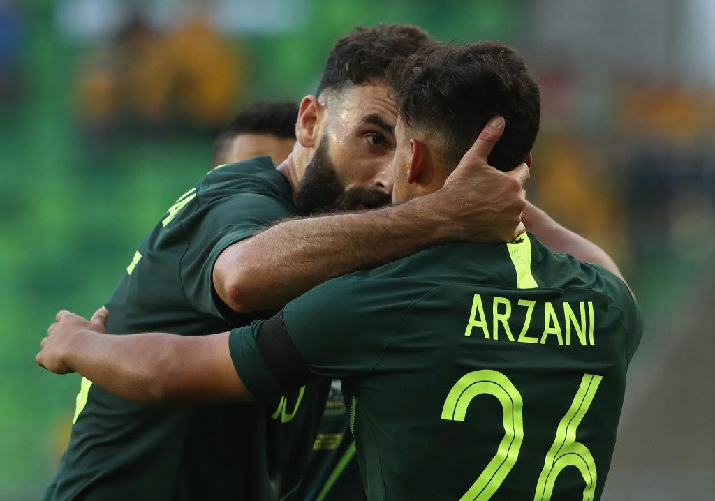 Daniel Arzani celebrates v Hungary