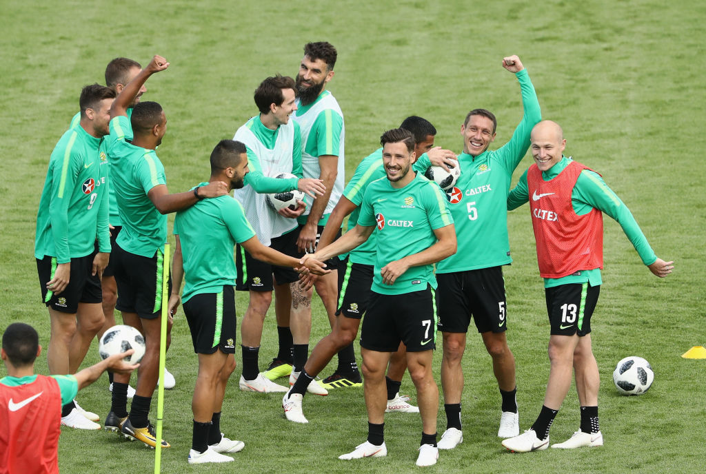 Socceroos have fun during a Kazan training session