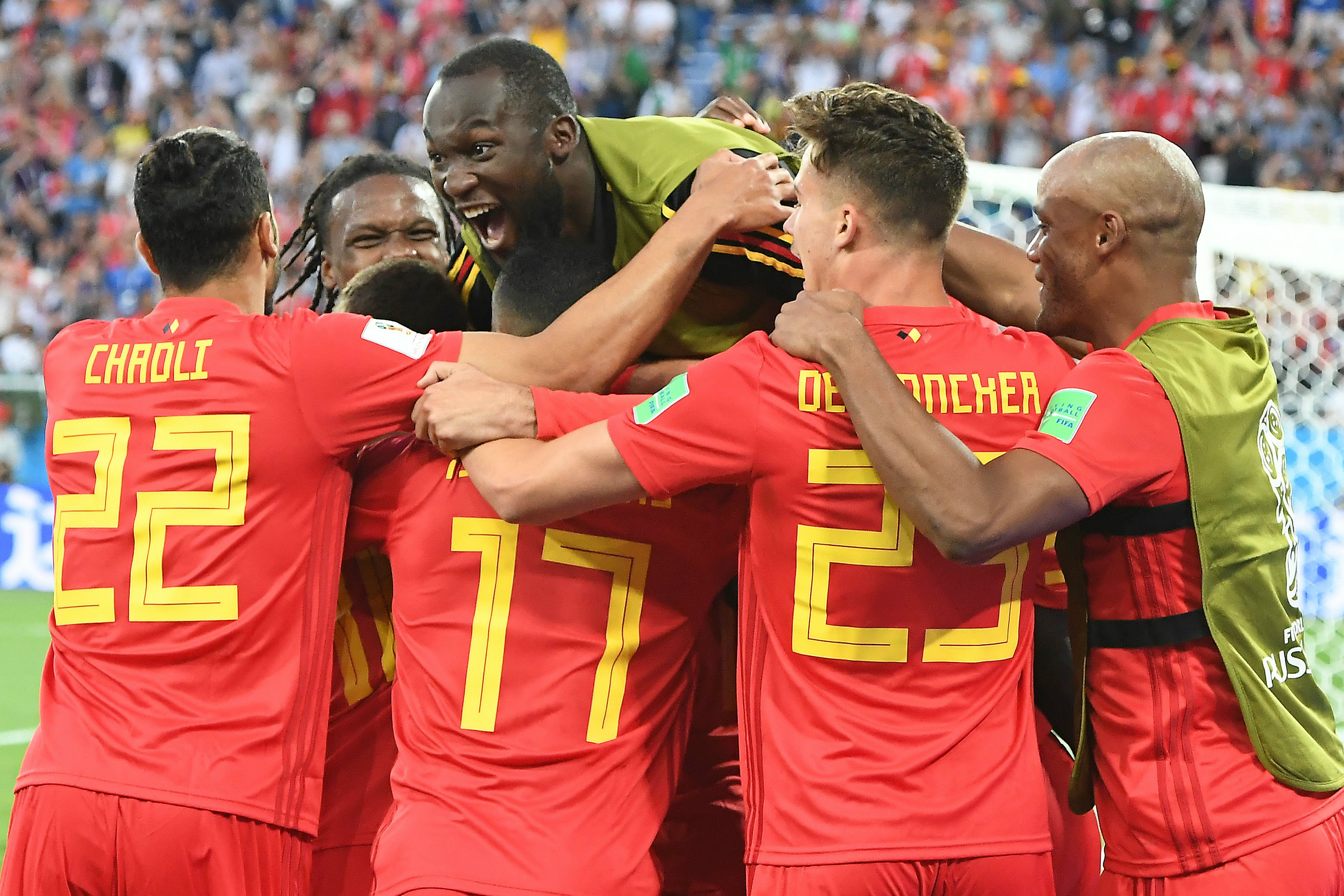 Belgium players celebrate Adnan Januzaj's goal.