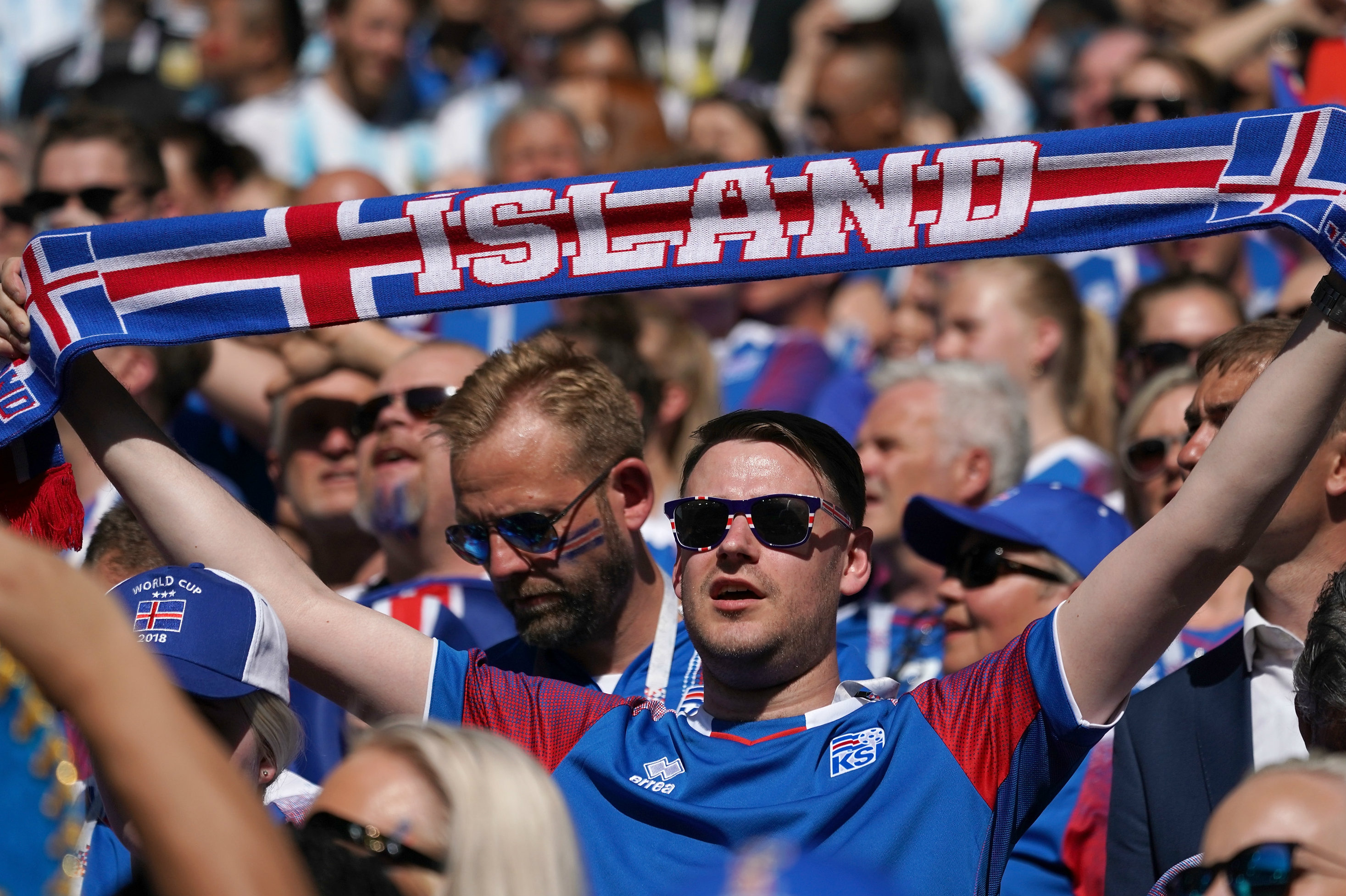 An Iceland fan gets behind his side in their draw against Argentina.