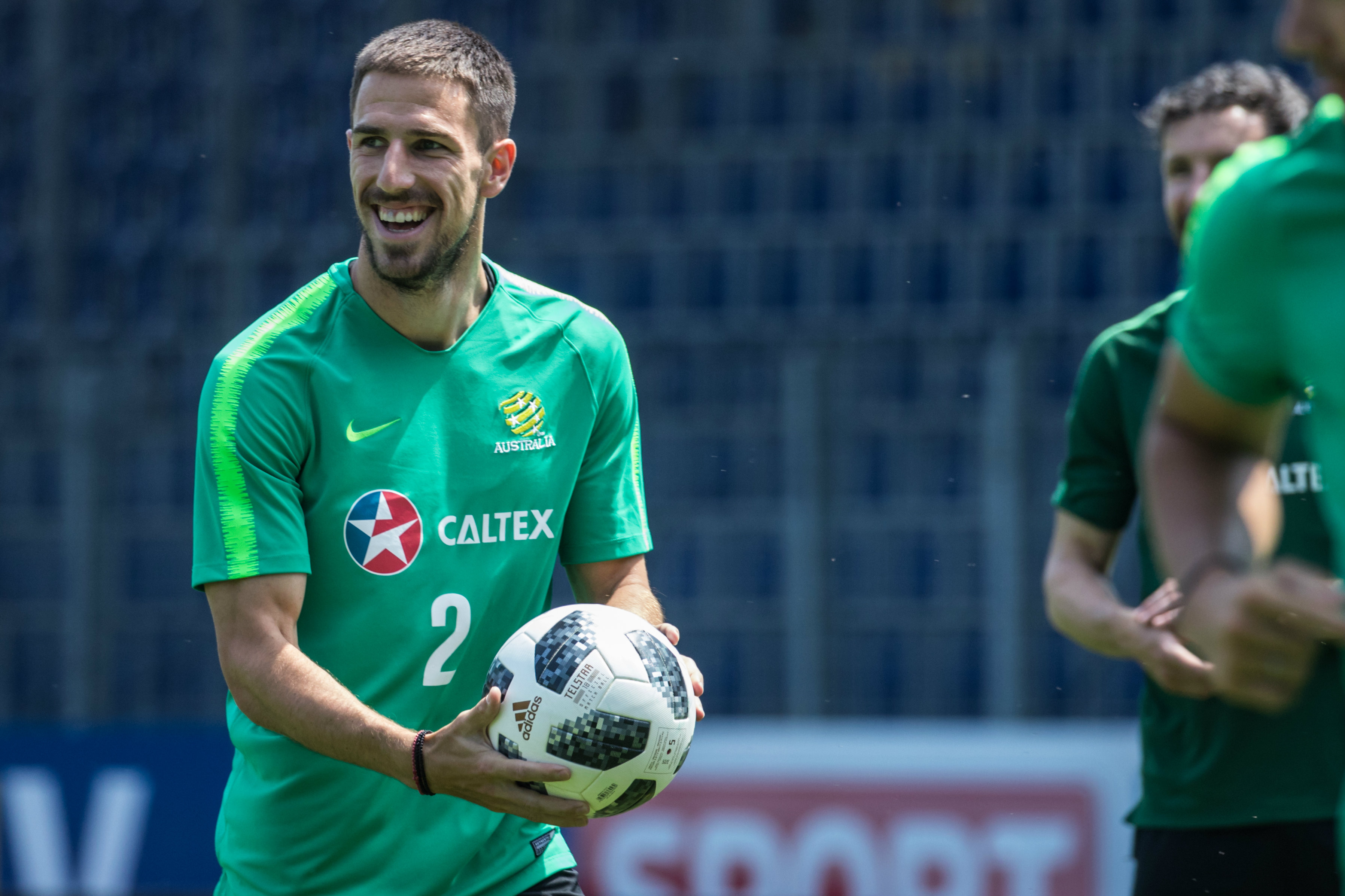 Defender Milos Degenek enjoys a lighter moment.
