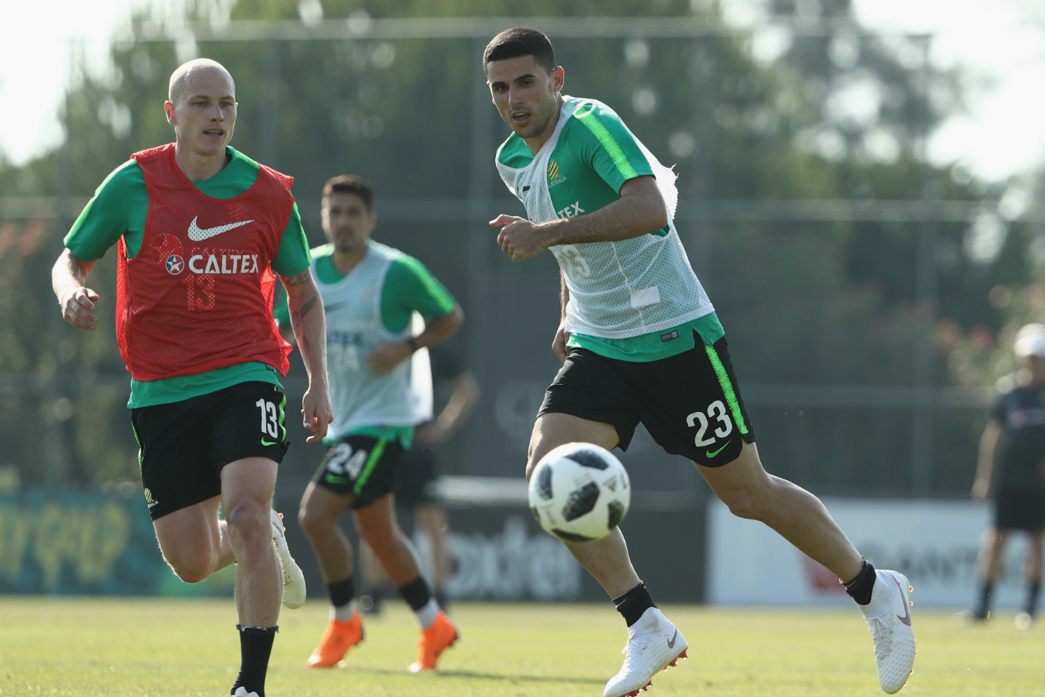 Tommy Rogic and Aaron Mooy in training