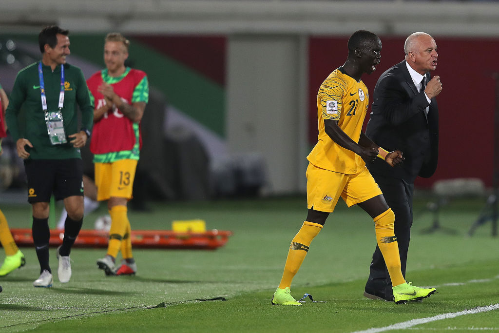 Awer Mabil and Graham Arnold celebrate Mabil goal v Syria, Asian Cup 2019