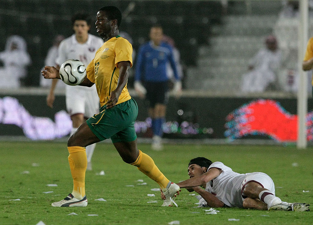 Bruce Djite in action for Socceroos vs Qatar in World Cup qualifier in 2008