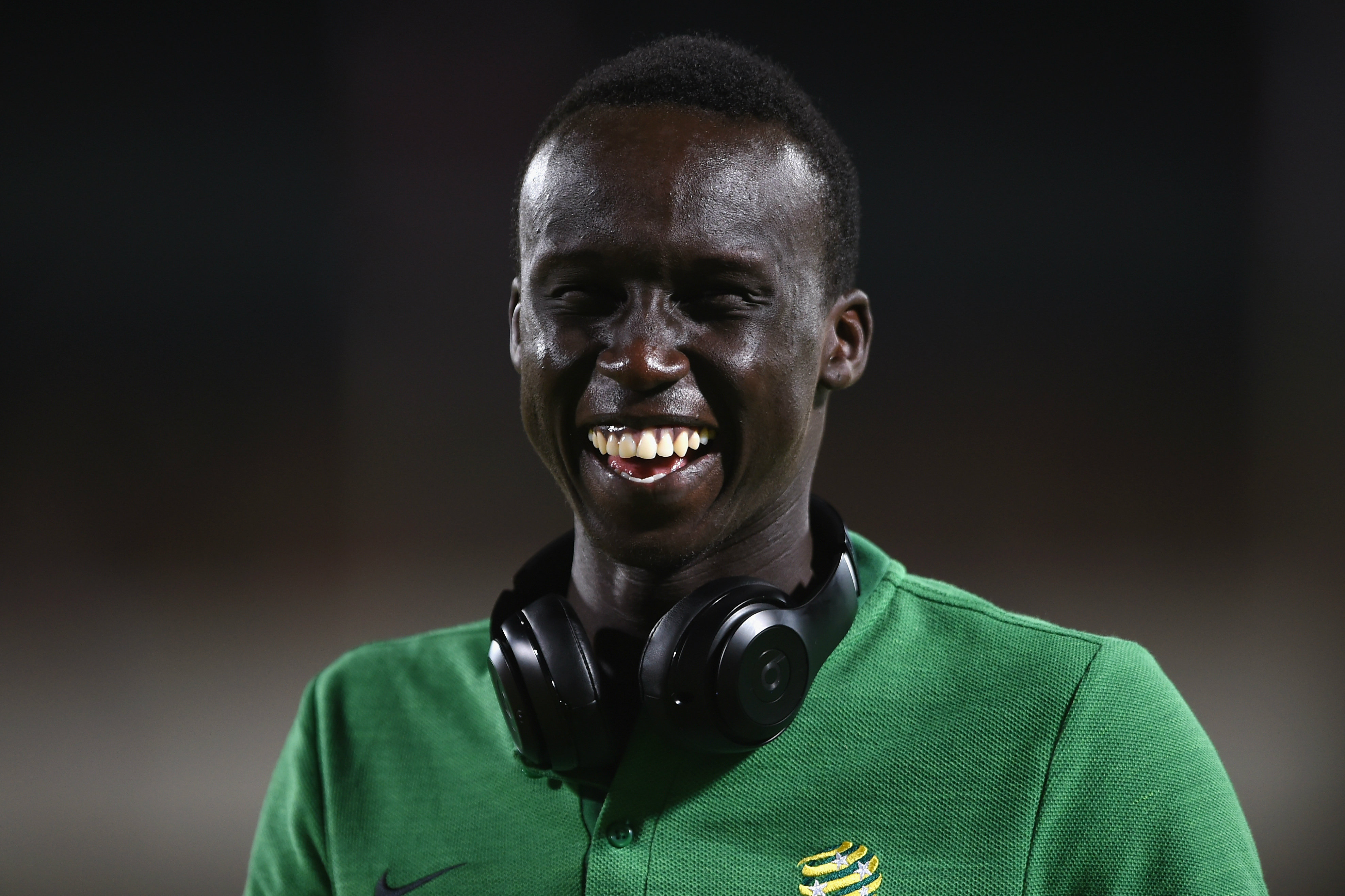 Thomas Deng made his Caltex Socceroos debut against Kuwait in 2018