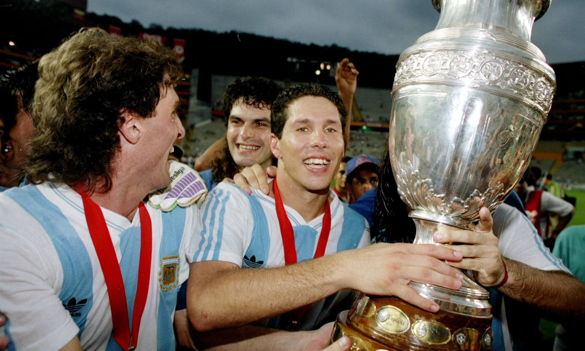 Diego Simeone lifts the cup in 1991 after Argentina snap a 32-year drought without a Copa America win.