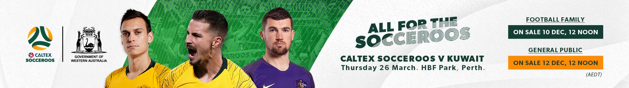 Caltex Socceroos v Kuwait ticket banner