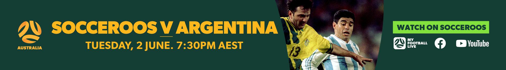 Socceroos Australia v Argentina Thin Banner