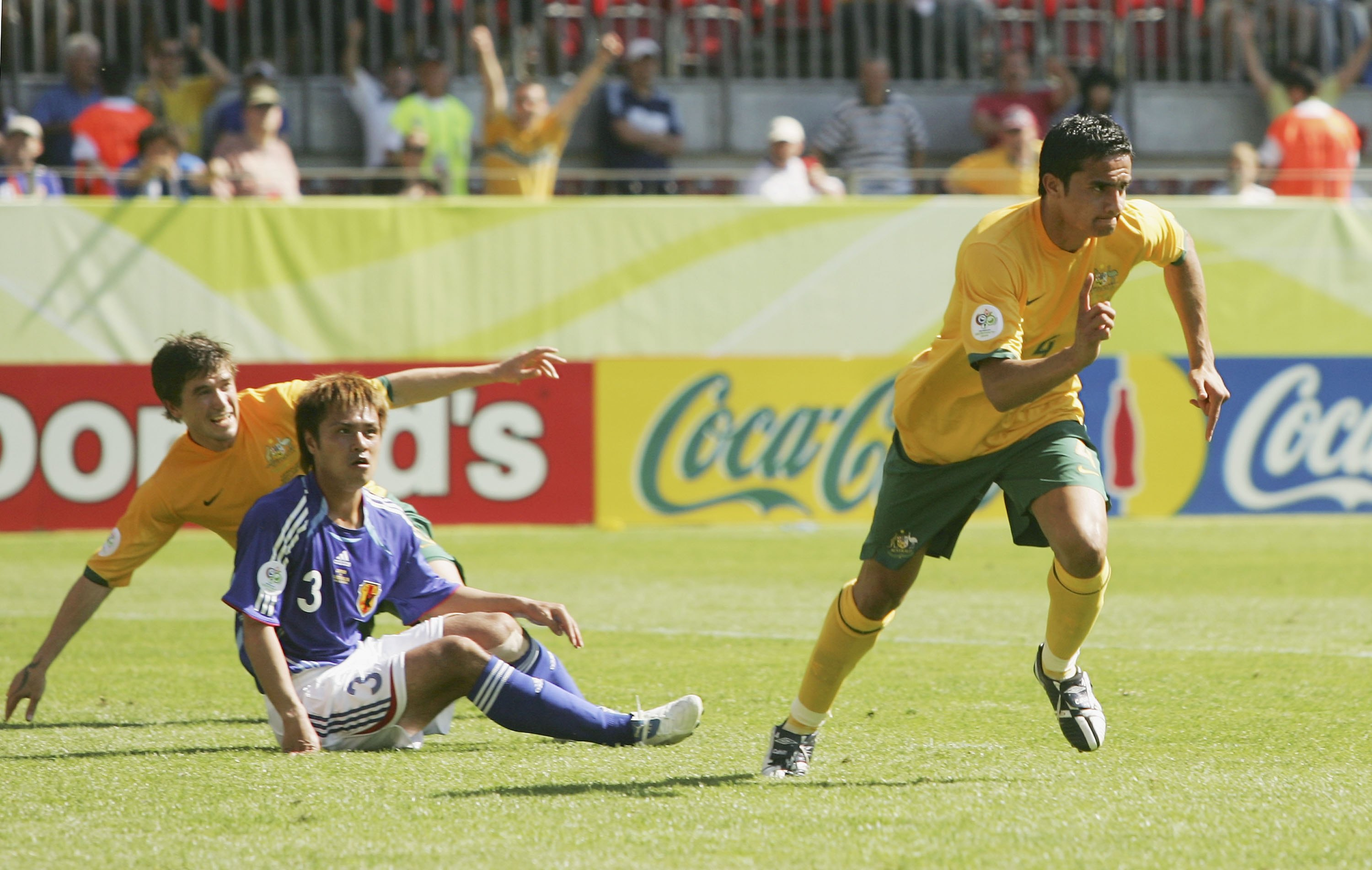 Tim Cahill celebrates scoring against Japan in 2006
