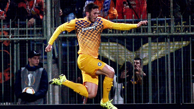 Apostolos Giannou celebrates after scoring in the UEFA Europa League for Asteras Tripolis.
