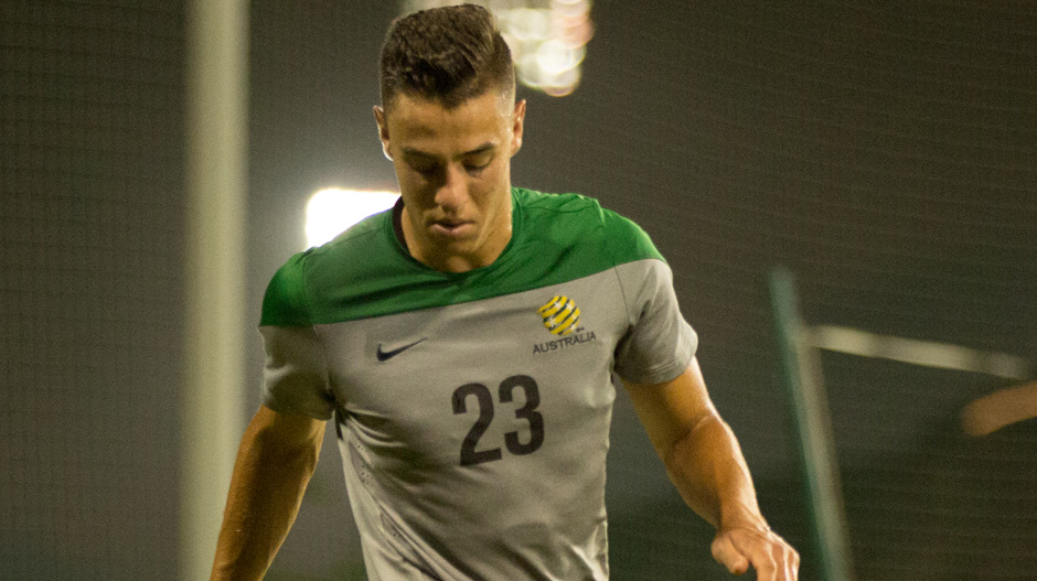 Chris Ikonomidis trains with the Socceroos in the UAE.