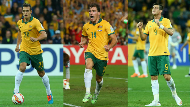 Socceroos Trent Sainsbury, James Troisi and Tomi Juric in action at the AFC Asian Cup.