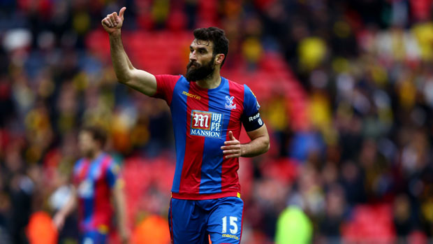 Mile Jedinak salutes the Crystal Palace fans after their FA Cup win.