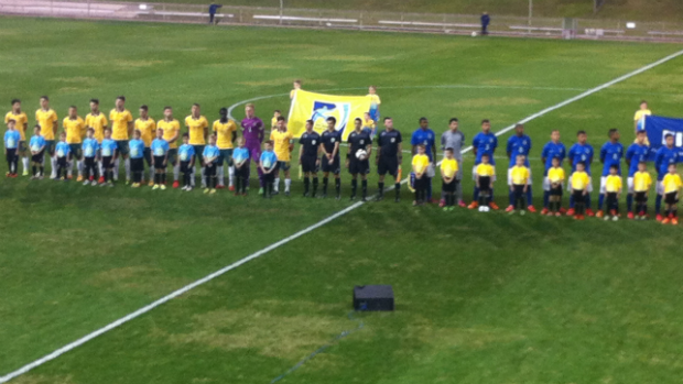 The Young Socceroos and Brazil U-20's before kick-off at WIN Stadium.