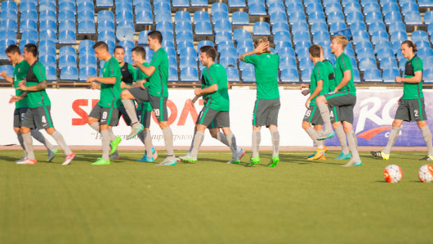 The Socceroos on the training track in Tajikistan.