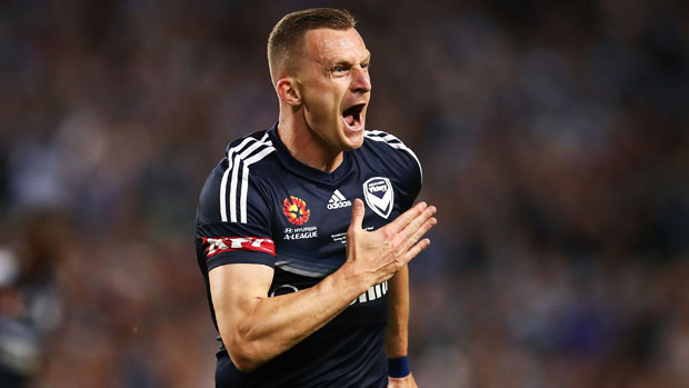 Victory star Besart Berisha celebrates after scoring the opener in the Hyundai A-League Grand Final.