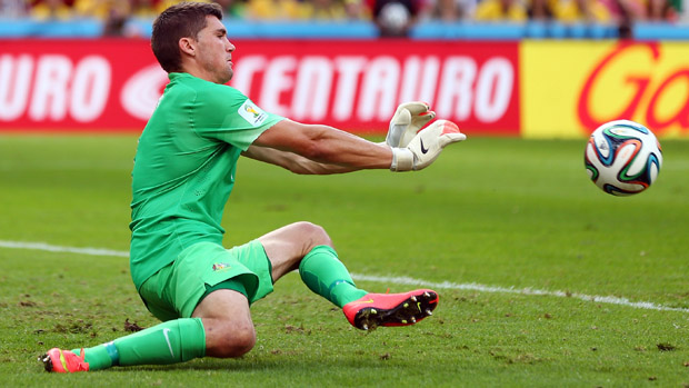 Mat Ryan in action for the Socceroos at the 2014 FIFA World Cup.